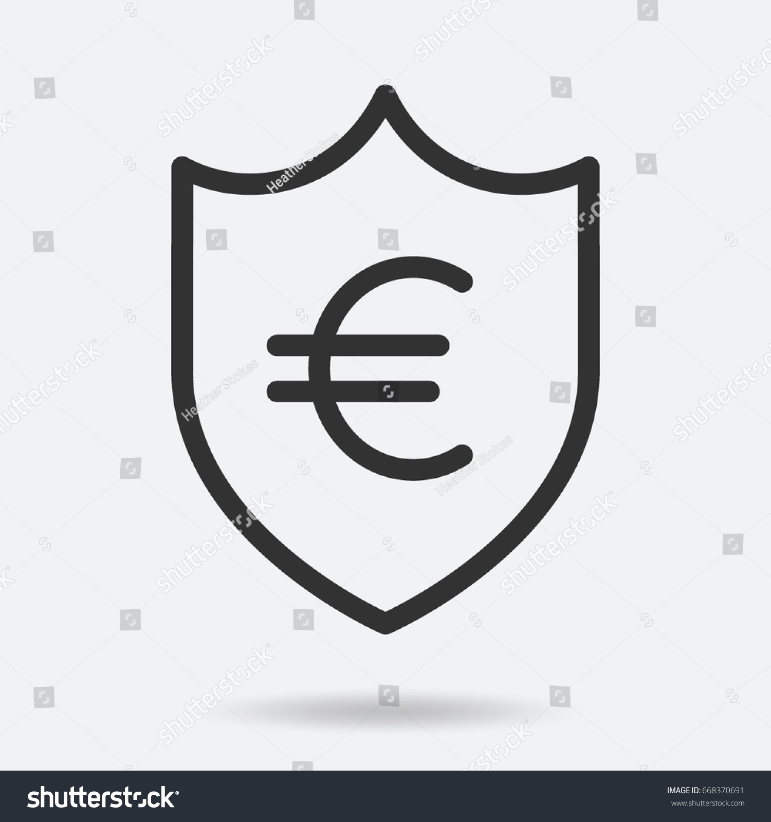 Euro Currency Symbol Shield Stock Vector Hd Royalty Free 668370691