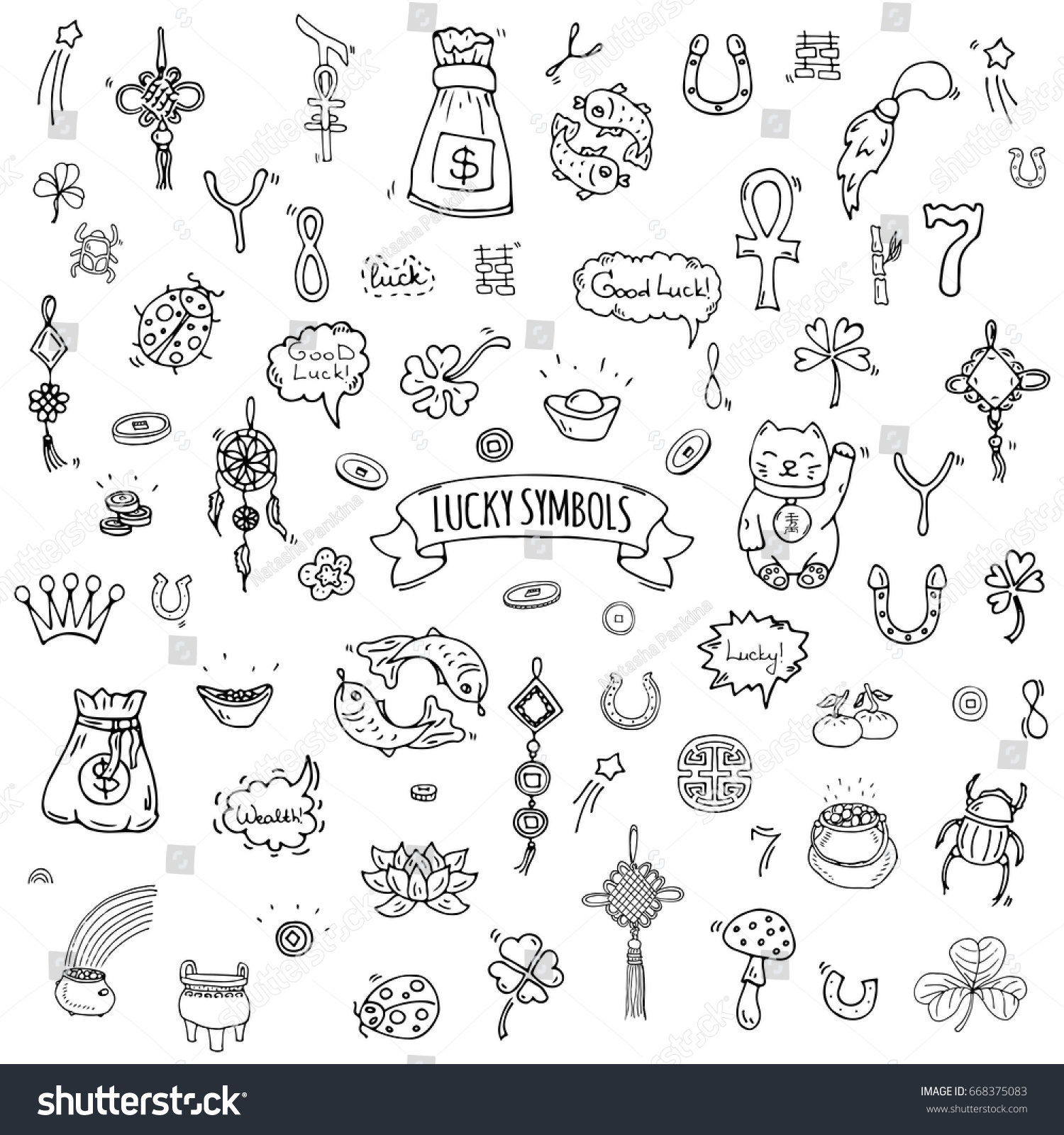 Hand drawn doodle lucky symbols icon stock vector 668375083 hand drawn doodle lucky symbols icon set vector illustration isolated luck symbols collection cartoon wealth element biocorpaavc Image collections