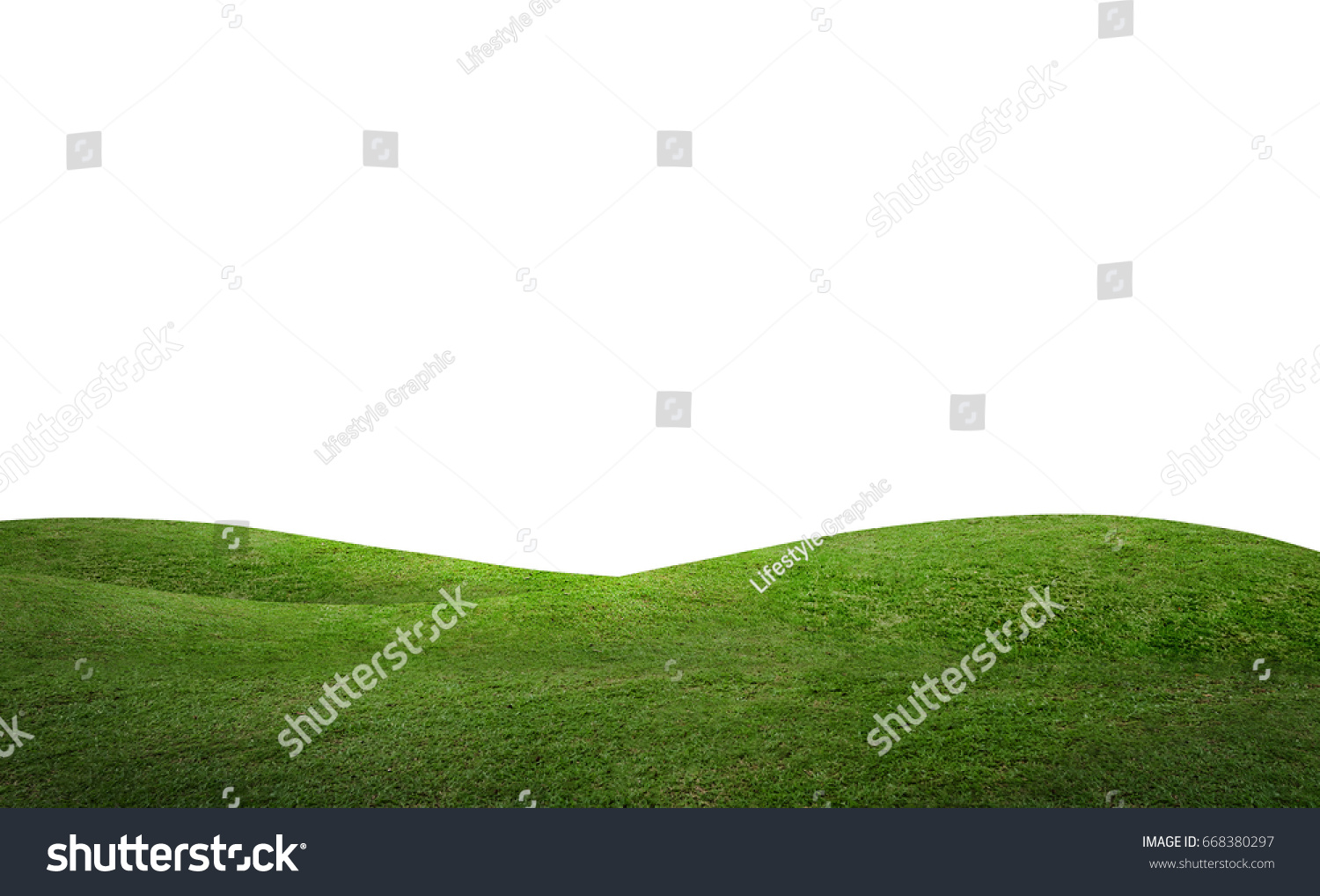 Green hill of grass field isolated on white background with clipping path. #668380297