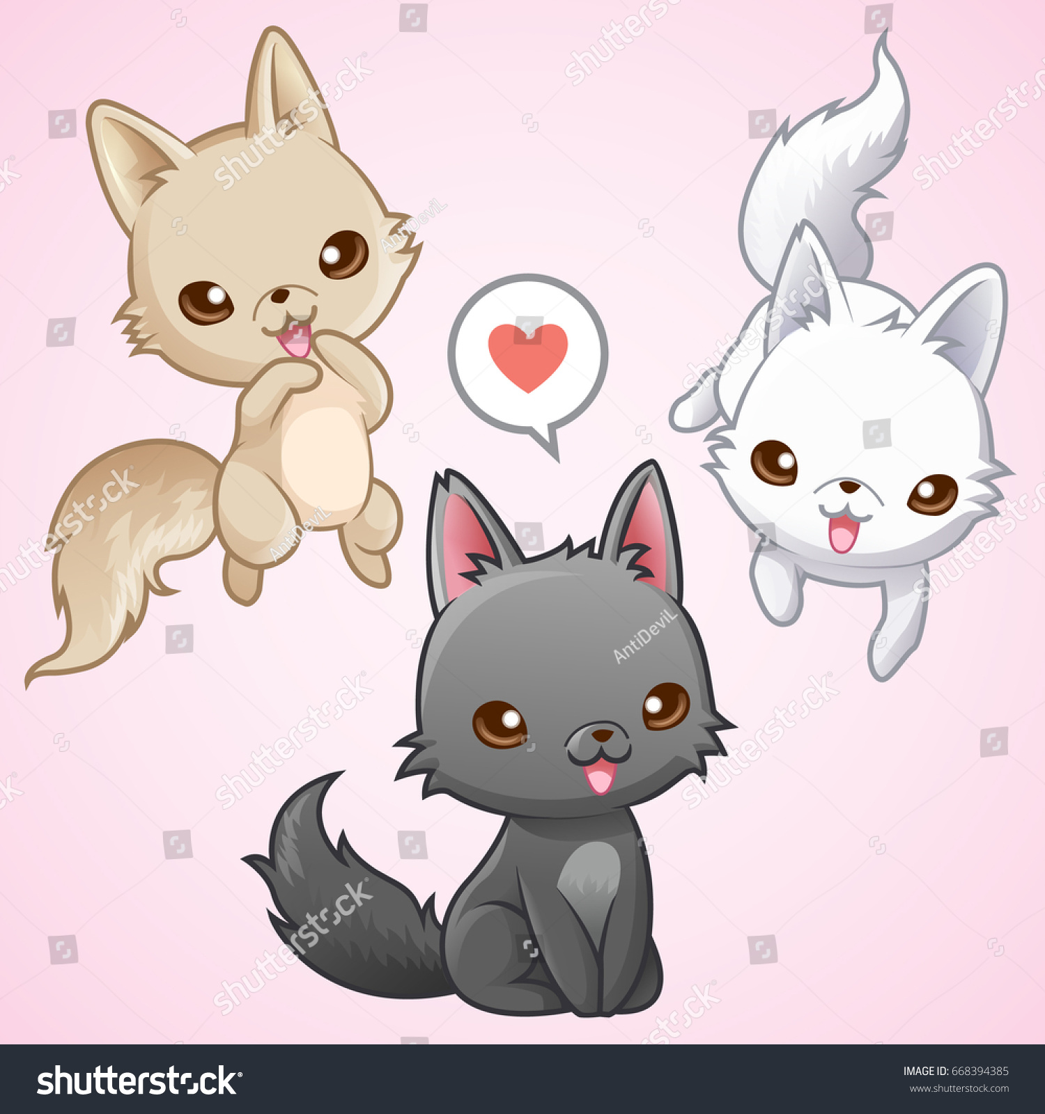 Cute Wolf Happy 3 Colors Vector Stock Vector Royalty Free 668394385
