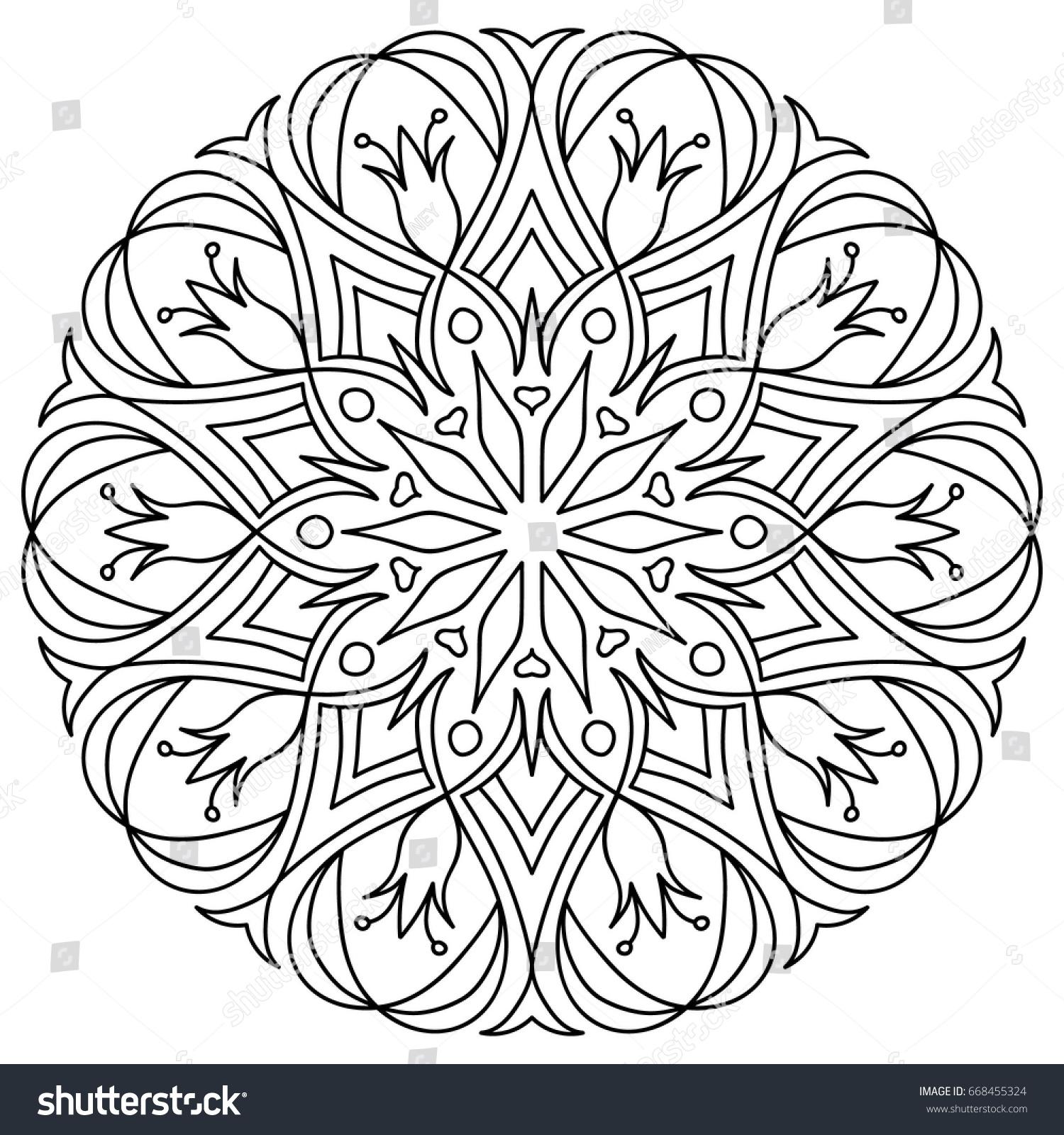 Flower Mandala Decorative Round Ornaments Anti Stress Therapy Patterns Weave Design