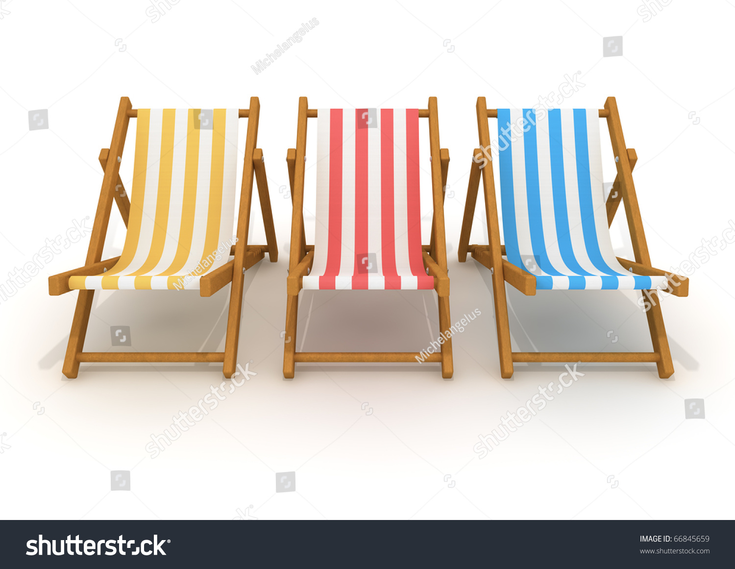 Wooden deck chairs - 3d Rendering Of Colorful Wooden Deck Chairs With Stripe Pattern Fabric Isolated On White
