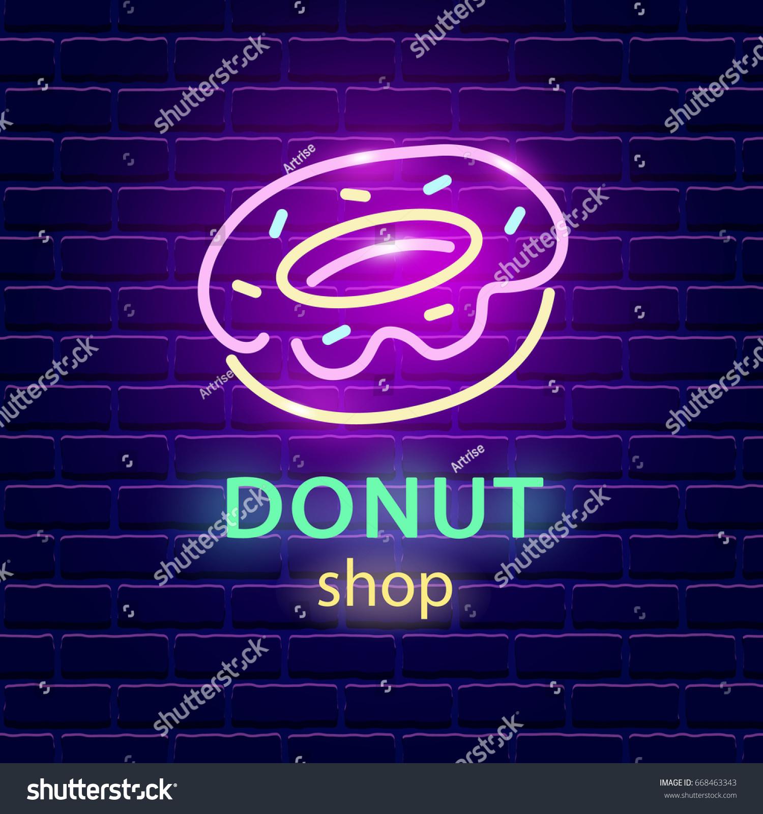 Donut Shop Neon Logo Sign On Stock Vector 668463343