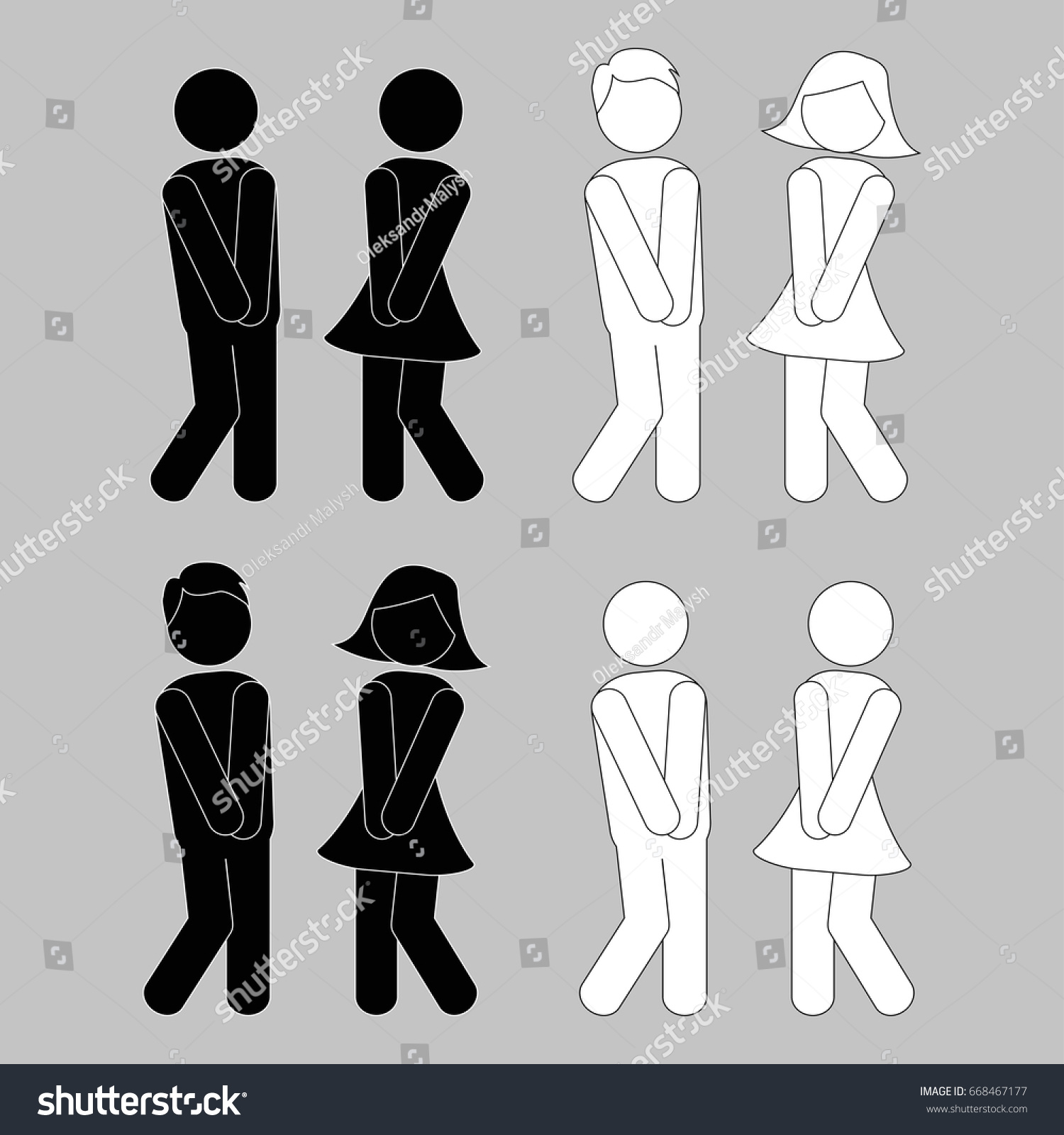 Wc Sign Boy Girl Toilet Icons Stock Vector Royalty Free 668467177