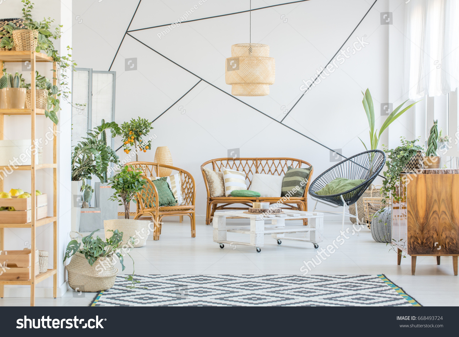 Decorative Tape On Wall White Living Stock Photo 668493724 ...