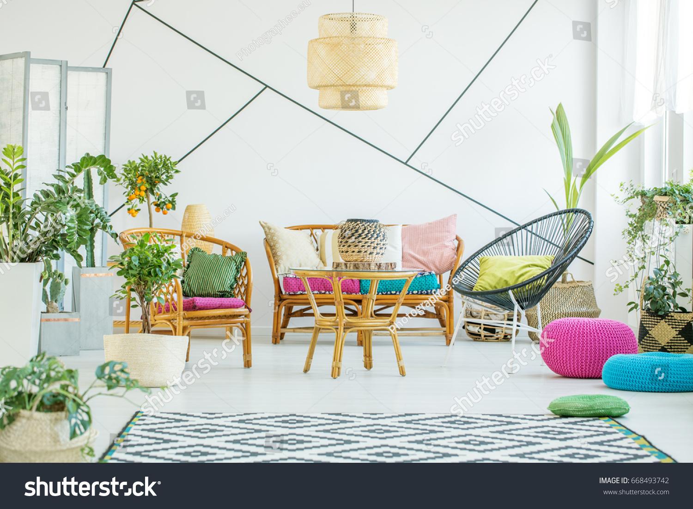 Living Room Colorful Poufs Plants Decorative Stock Photo & Image ...