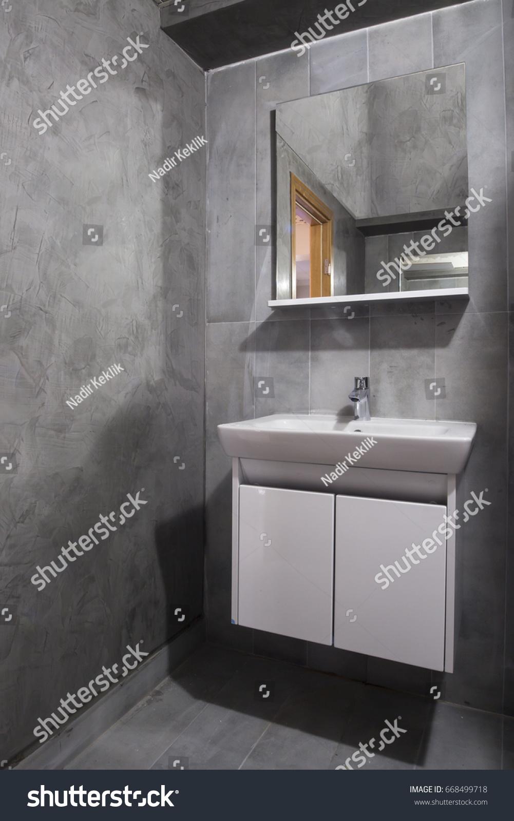 Grey Commercial Bathroom Design Stock Photo Edit Now 668499718