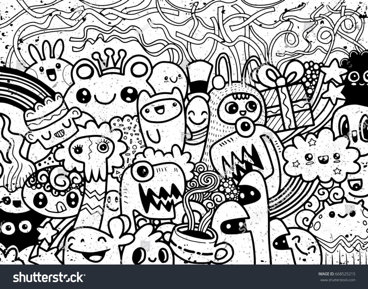 Line Drawing Monster : Hipster hand drawn crazy doodle monster stock vector