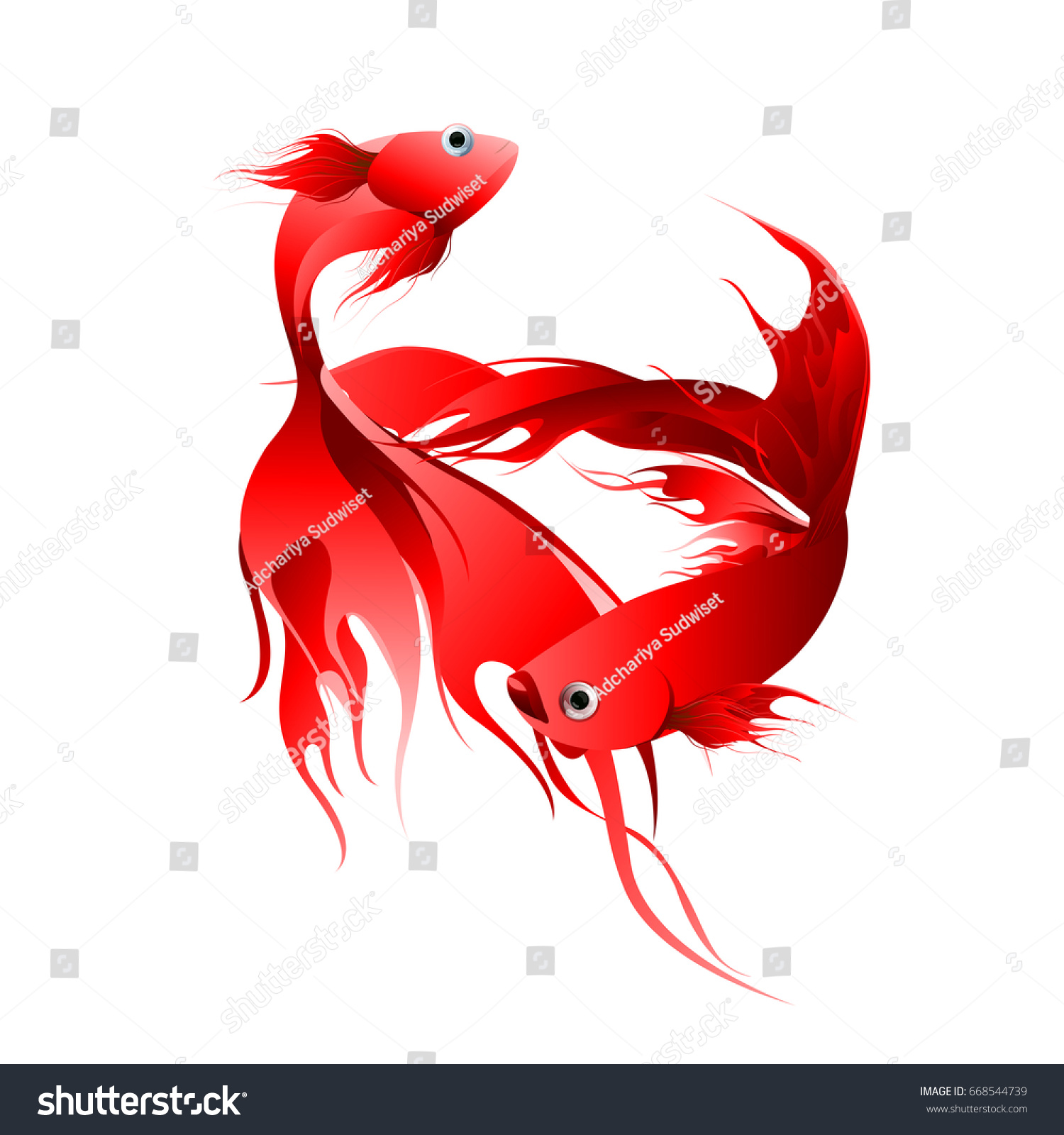 Fish Graphic Design Red Color Abstract Stock Vector 668544739 ...