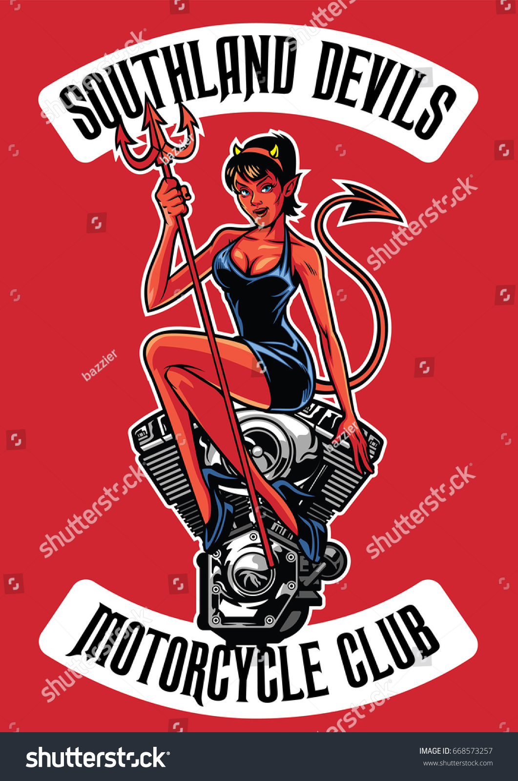 Sexy Devil Motorcycle Engine Stock Vector 668573257 - Shutterstock