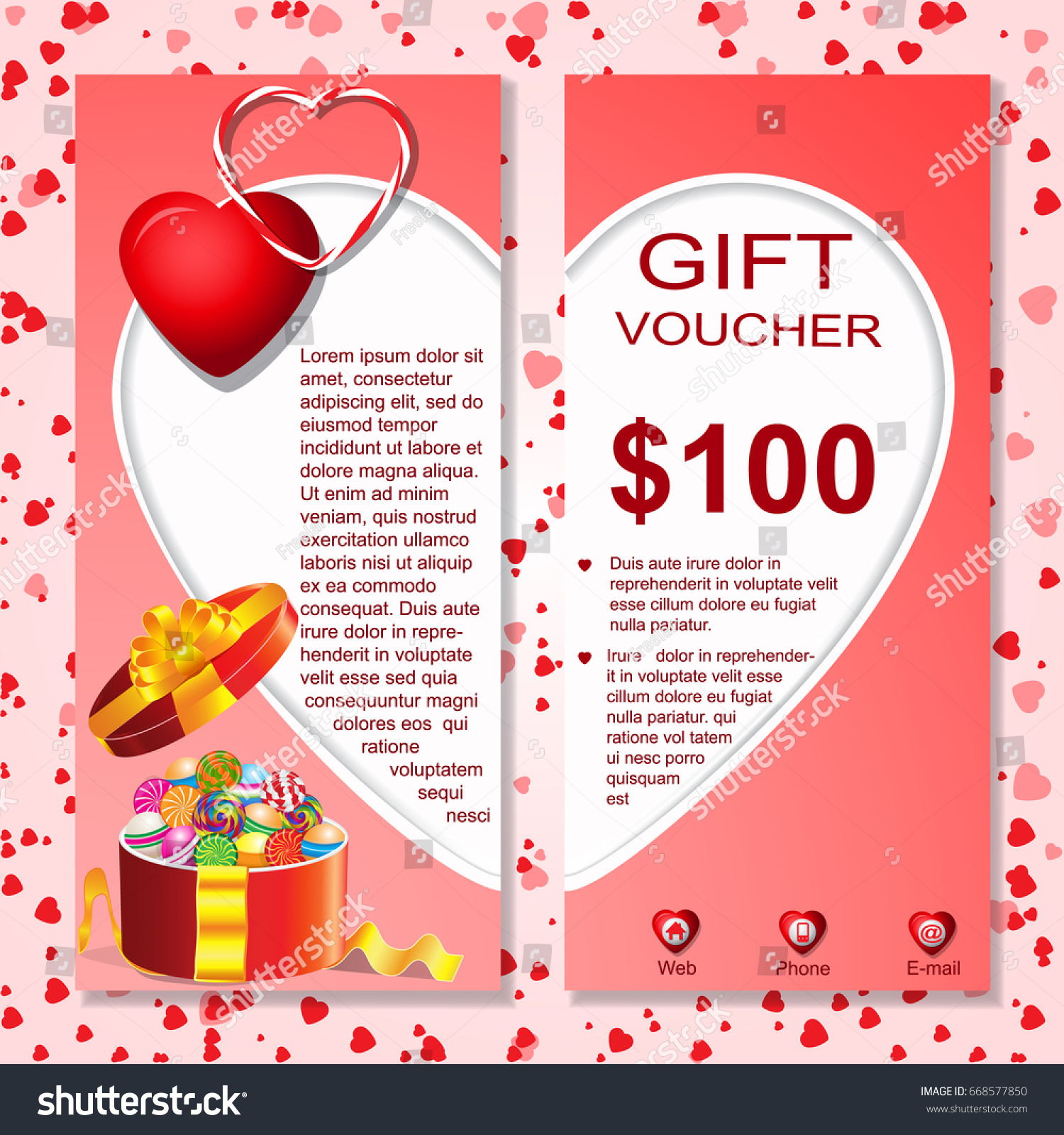 Gift cardvouchercertificate template heart gift cardvouchercertificate template with heart patternborderboxribbons 1betcityfo Image collections
