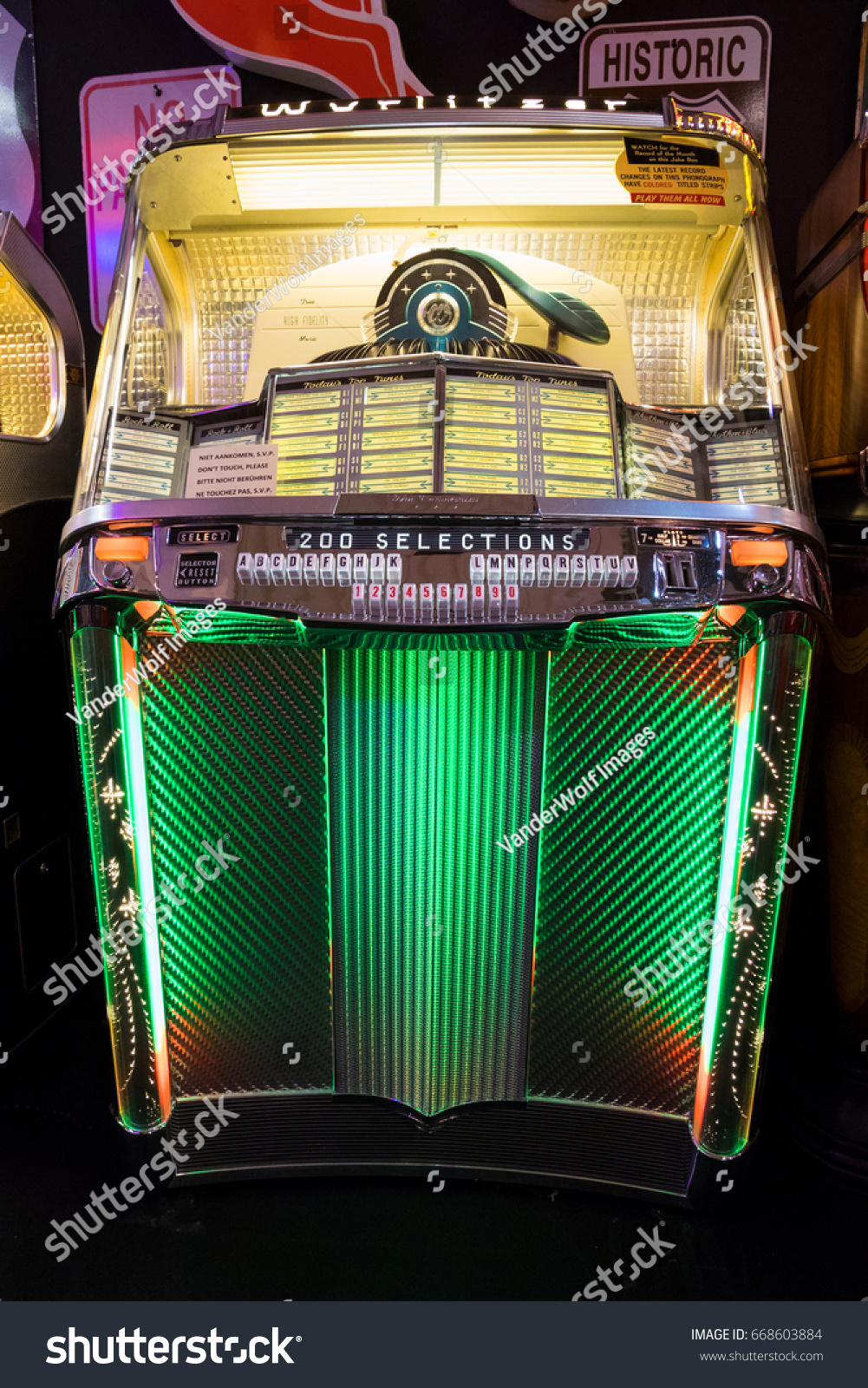 ESSEN, GERMANY - APR 6, 2017: Vintage Wurlitzer 2000 Centennial music  jukebox for sale at the Techno Classica Essen event. - Image