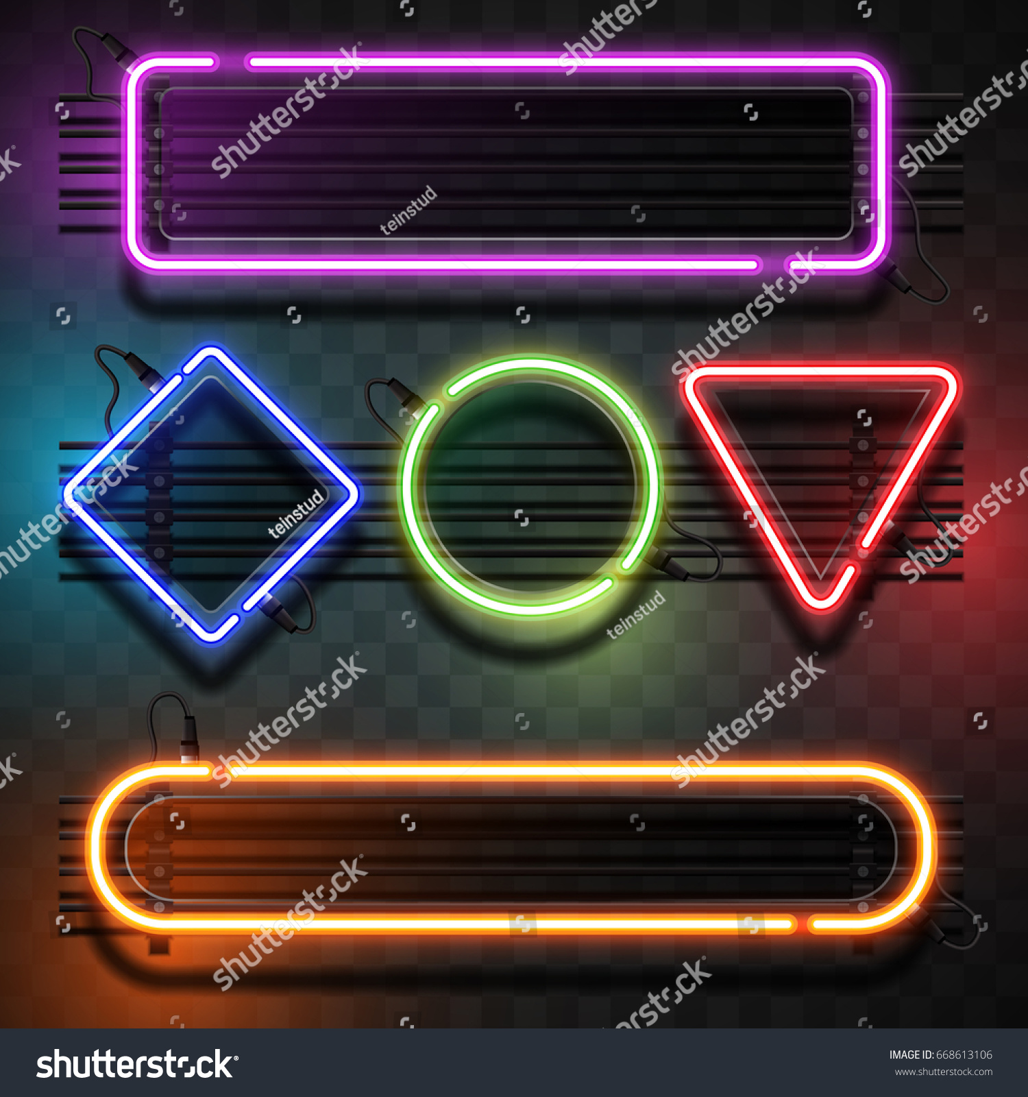 neon light template のベクター画像素材 ロイヤリティフリー