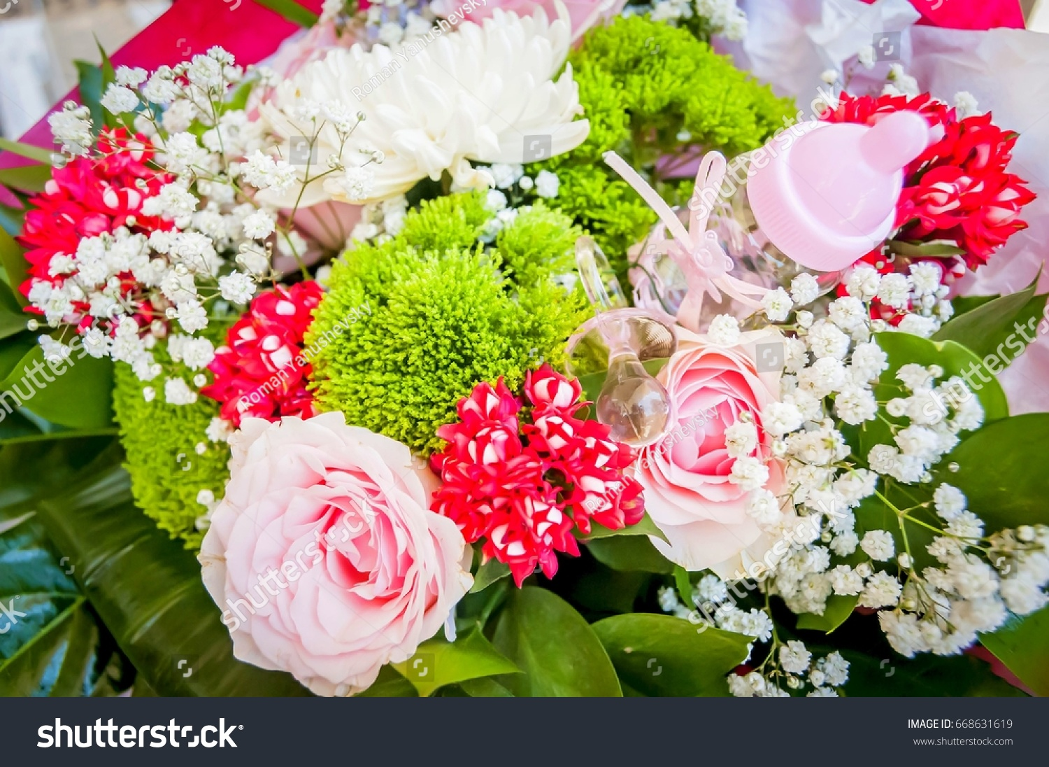 Beautiful rose flower bouquet mother new stock photo royalty free a beautiful rose flower bouquet for a mother of a new born baby girl with baby izmirmasajfo