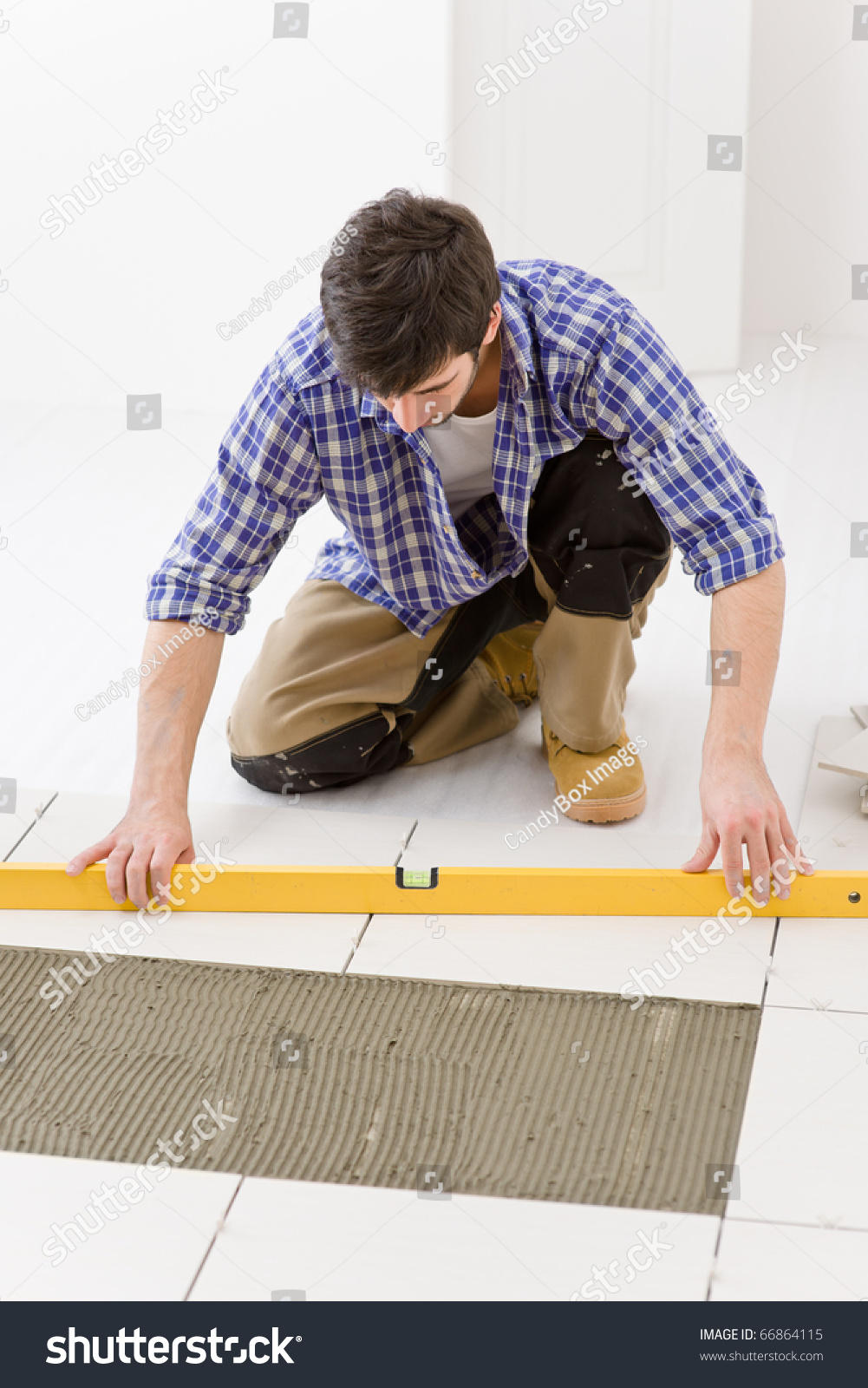 Home Tile Improvement Handyman Level Laying Stock Photo Royalty