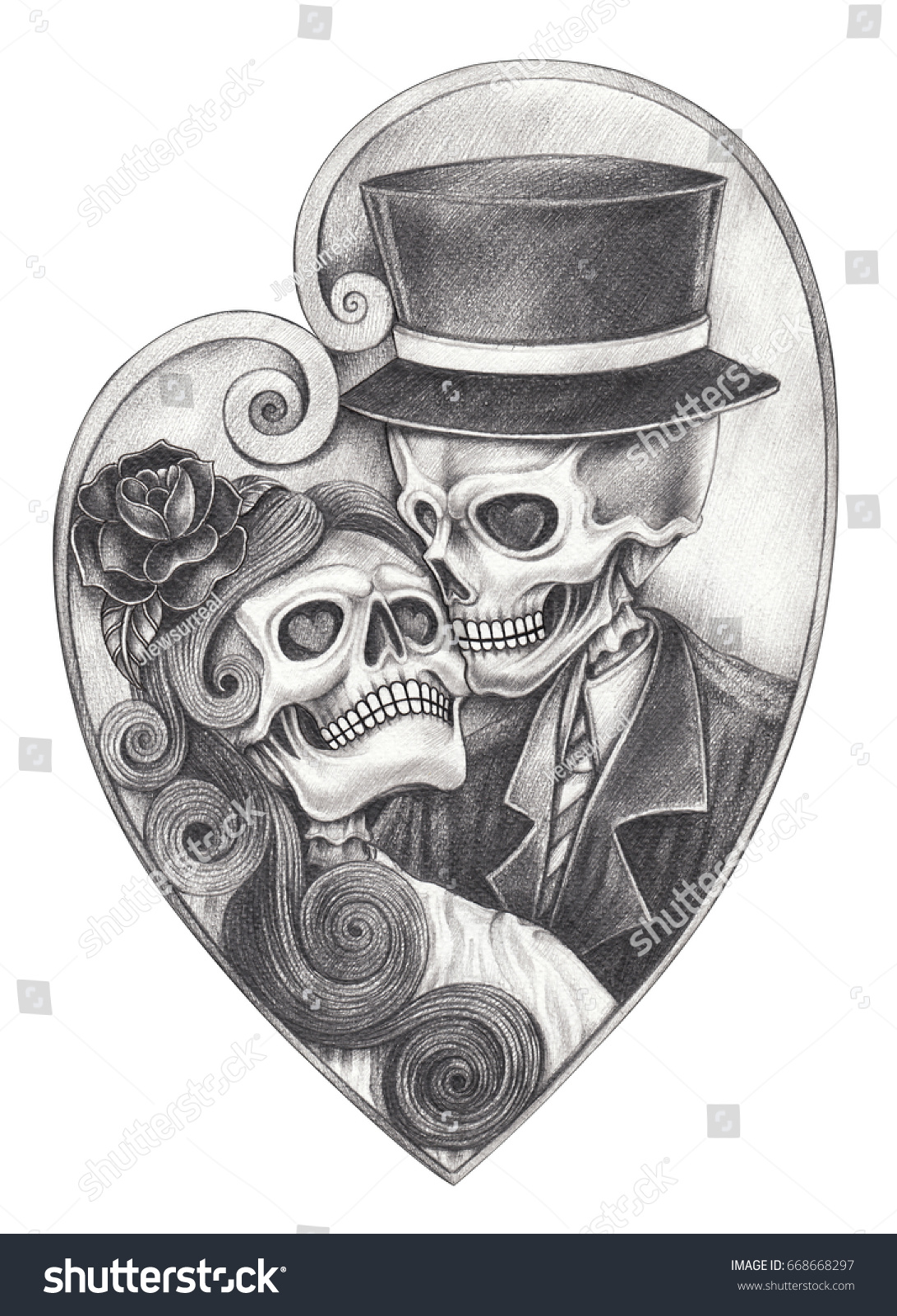 Skull in love day of the dead hand pencil drawing on paper