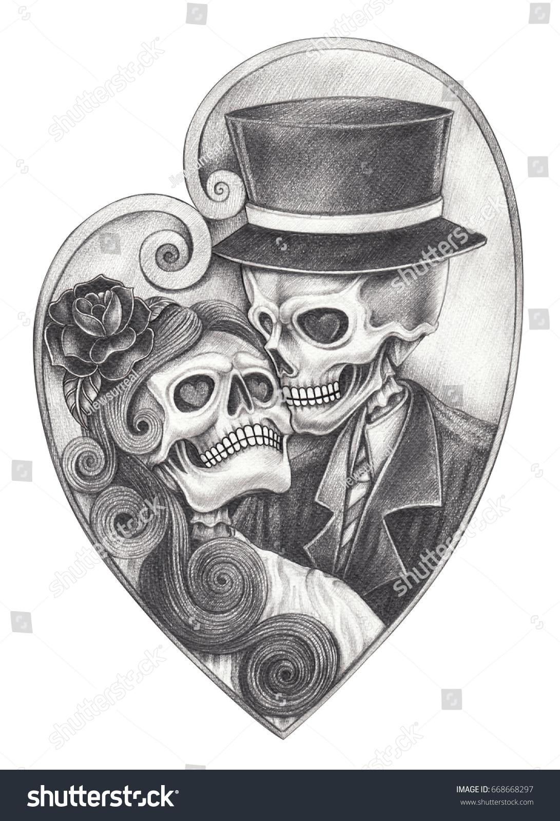 Skull love day dead hand pencil stock illustration 668668297