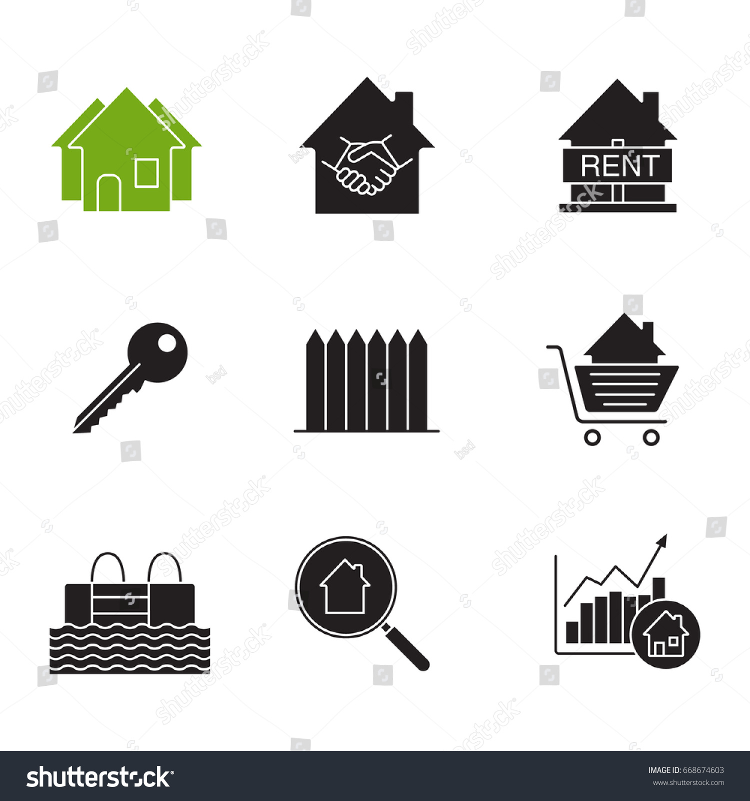 Real estate market glyph icons set stock vector 668674603 for House music symbol