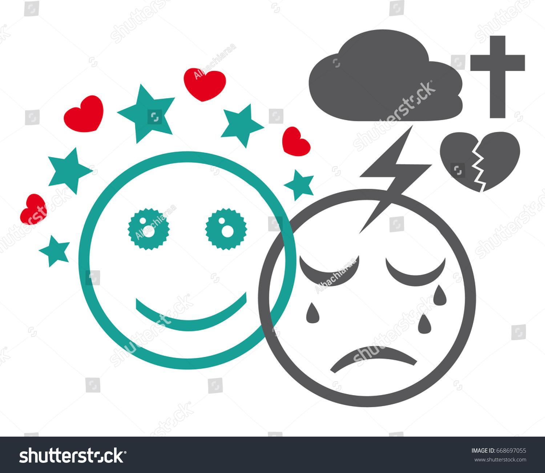 Bipolar Disorder Icon Psychiatric Illness Mental Stock Illustration