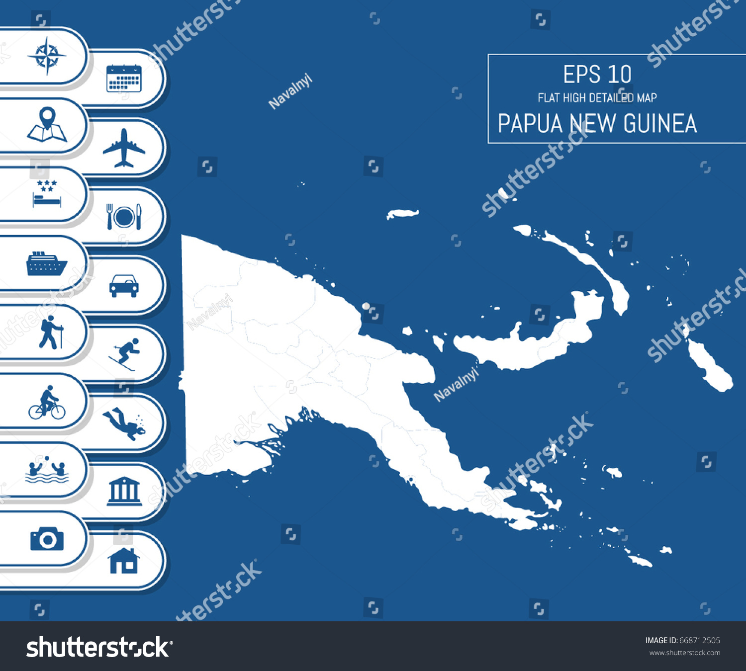 Flat High Detailed Papua New Guinea Stock Vector 668712505