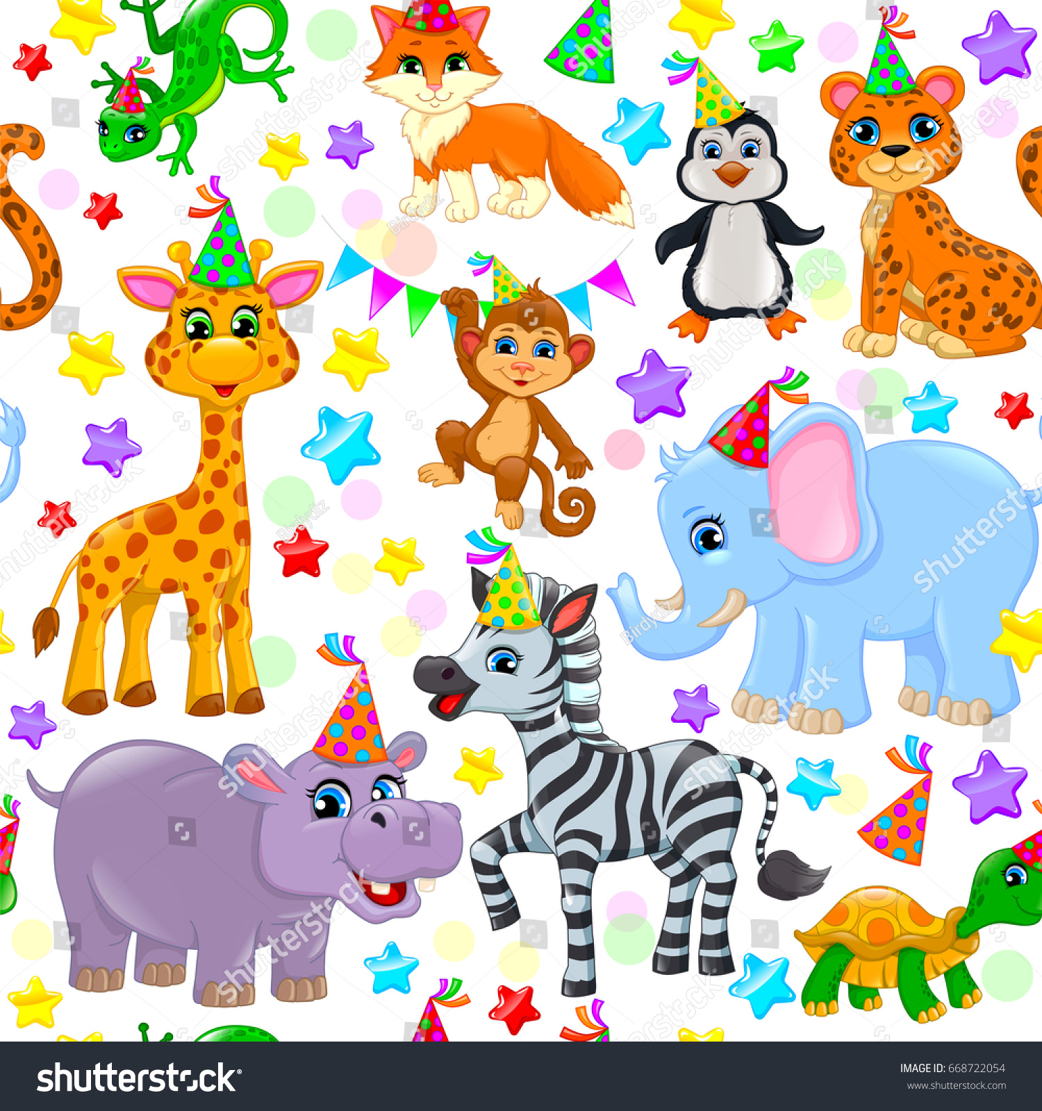 color seamless animal pattern stars birthday stock vector
