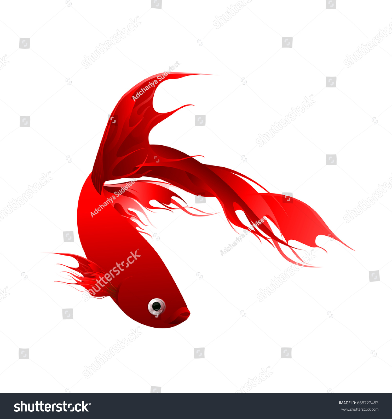 Fish Graphic Design Red Color Abstract Stock Vector 668722483 ...