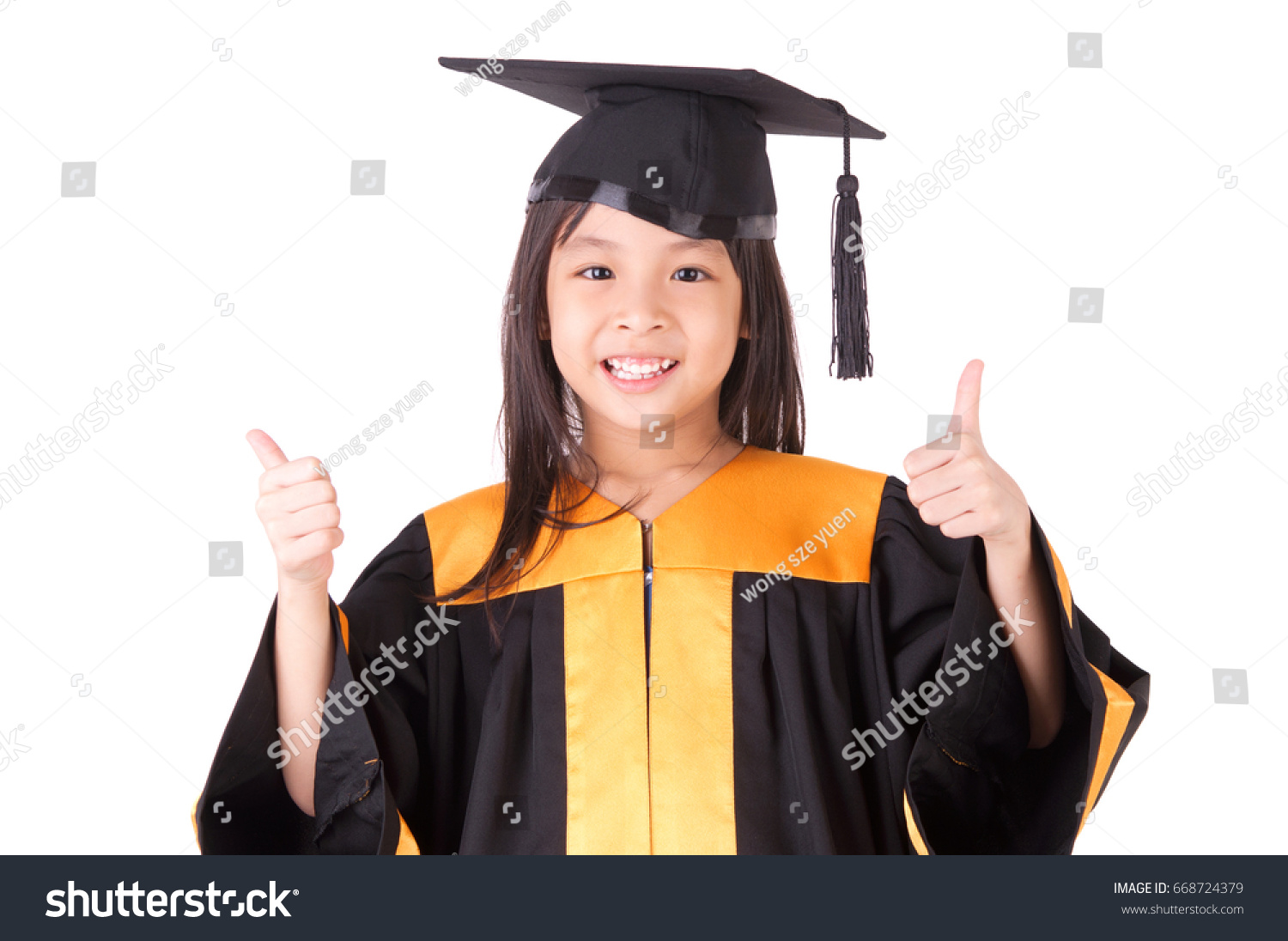 Asian Child Graduation Gown Mortarboard On Stock Photo (Royalty Free ...