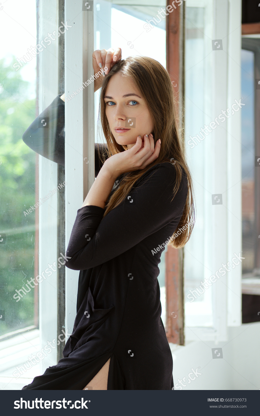 Cute Young Woman Dressing Gown By Stock Photo (Royalty Free ...