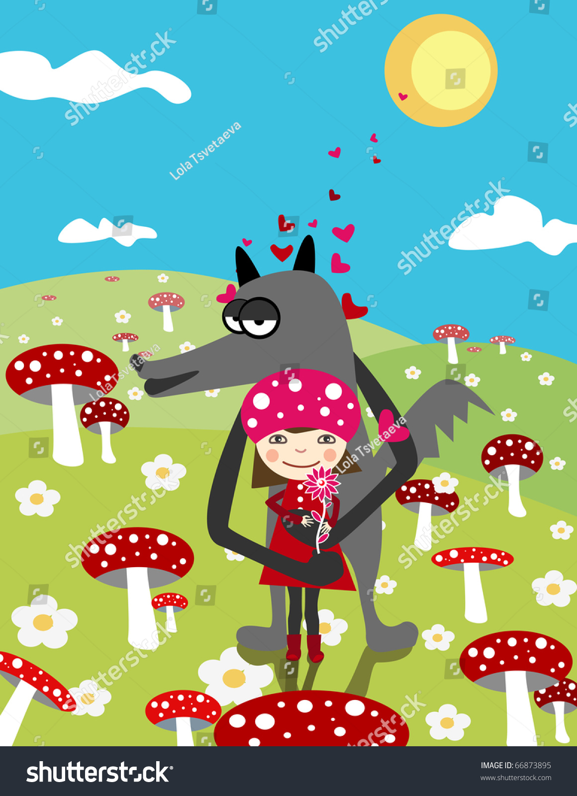 Little red riding hood wolf love stock vector 66873895 shutterstock little red riding hood and wolf love day scene with mushrooms buycottarizona