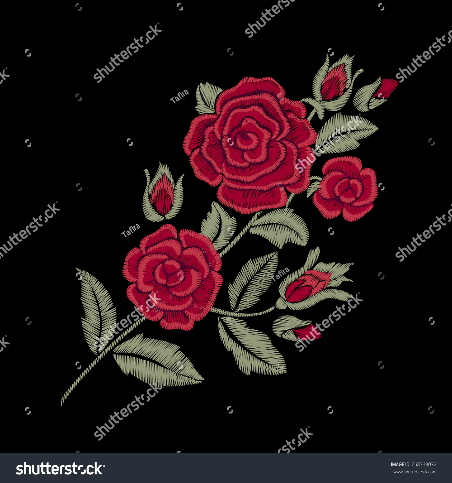 Red roses embroidered flowers leaves stock vector