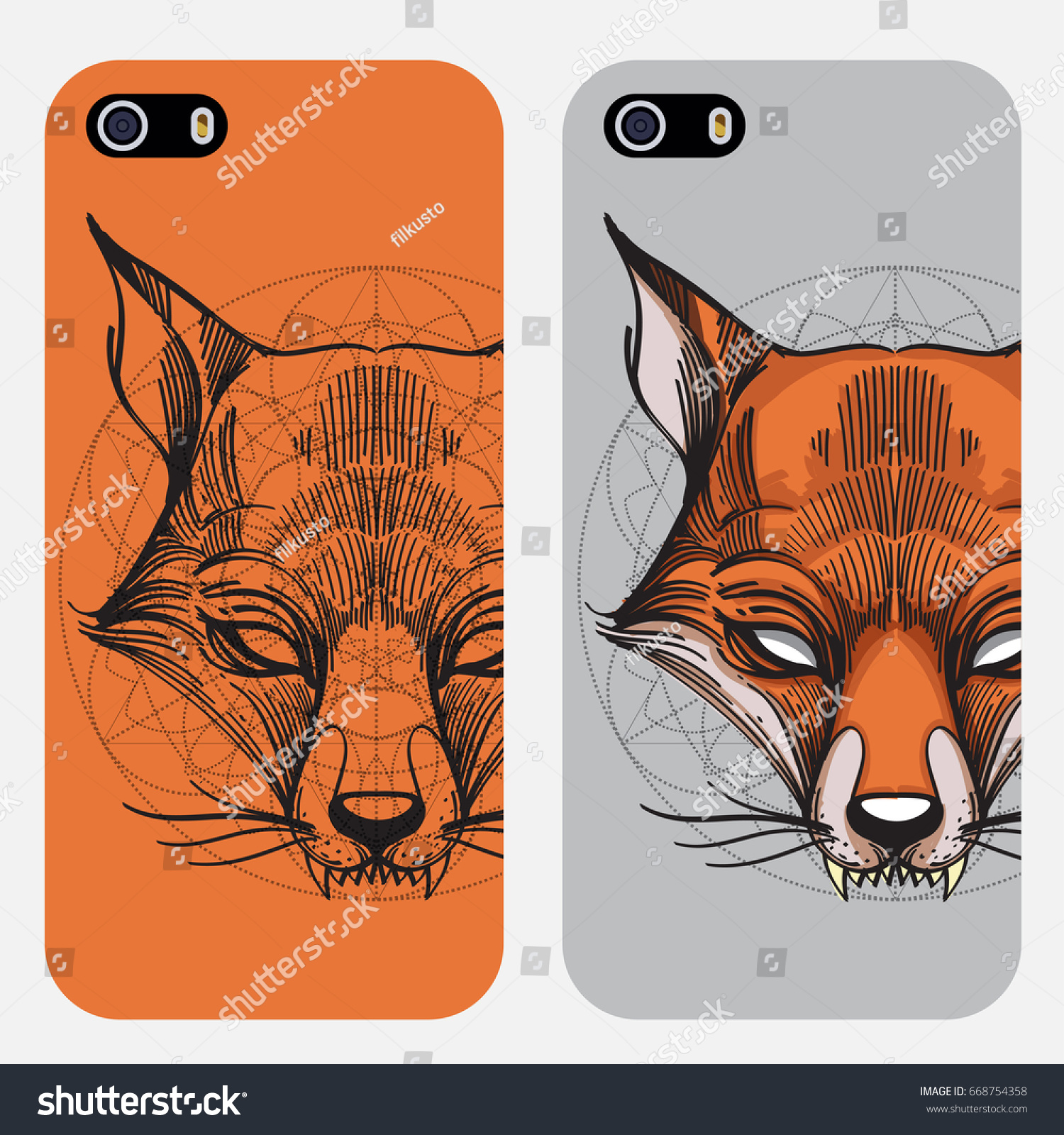 Template Design Cases Phones Fox Face Stock Vector Royalty Free