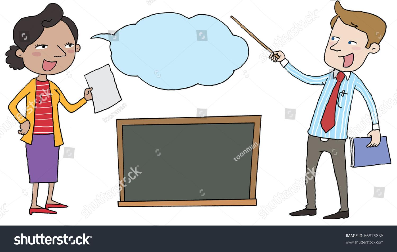 Male Female Teacher Teaching Stock Illustration 66875836 ...