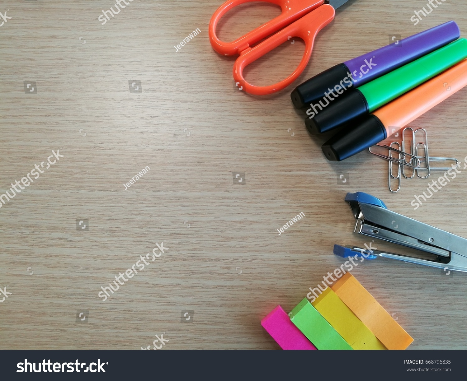 colorful office accessories. Frame Of Colorful Office Accessories As A Background