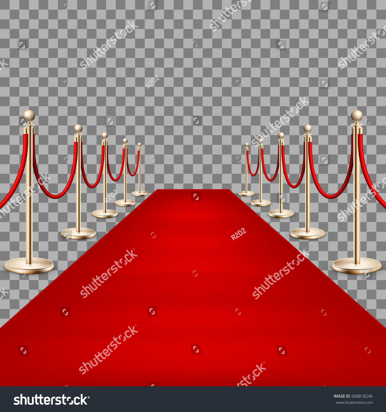 Realistic Red Carpet Between Rope Barriers Stock Vector