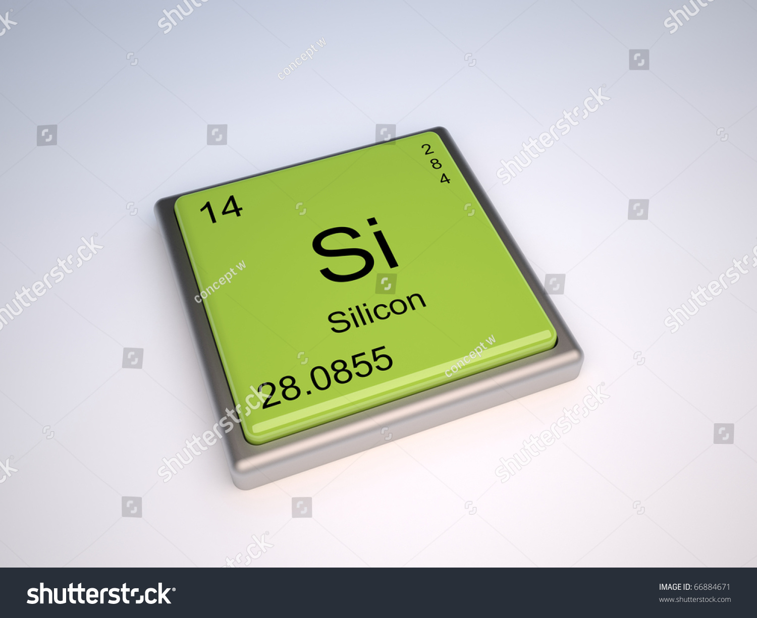 Silicon Chemical Element Periodic Table Symbol Stock Illustration