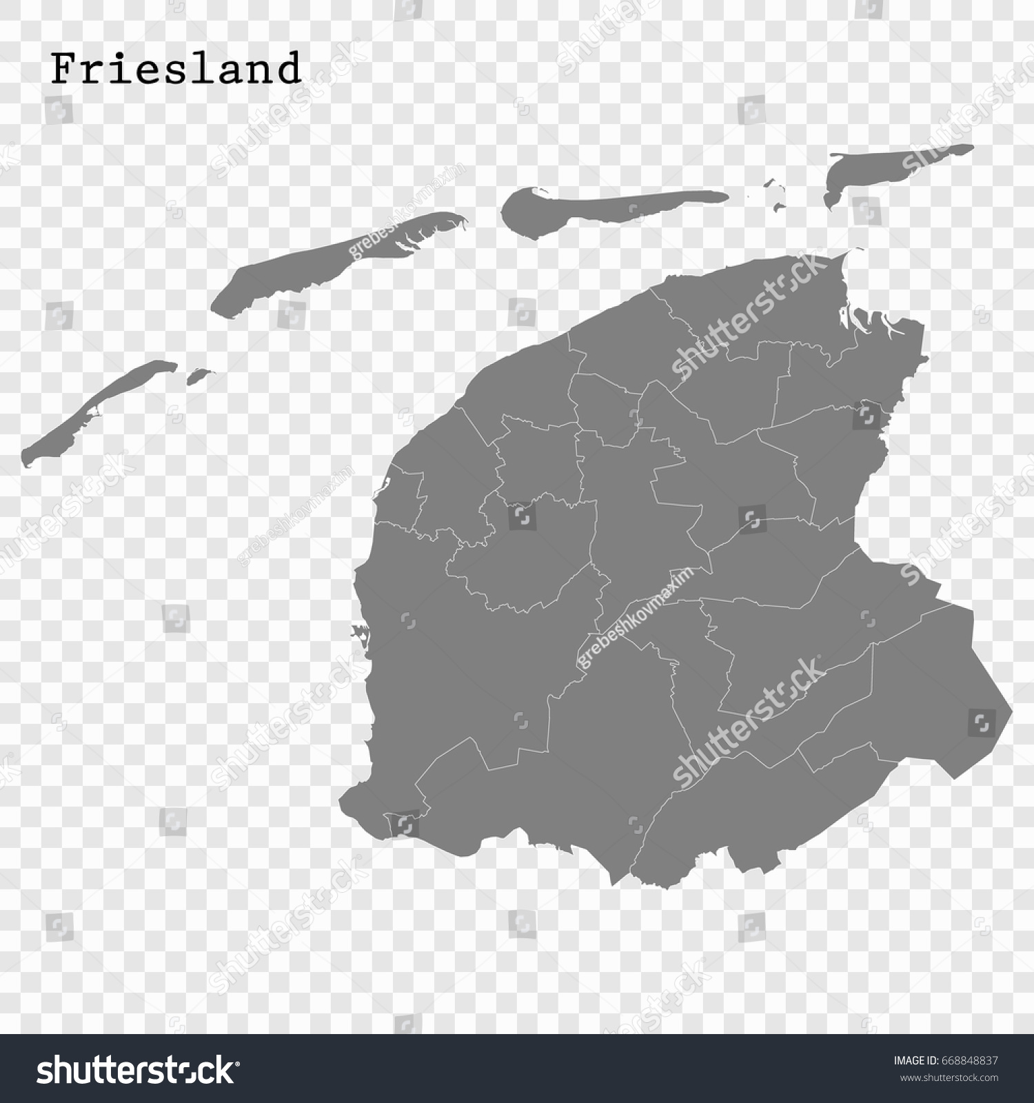 High Quality Map Friesland Province Netherlands Stock Vector