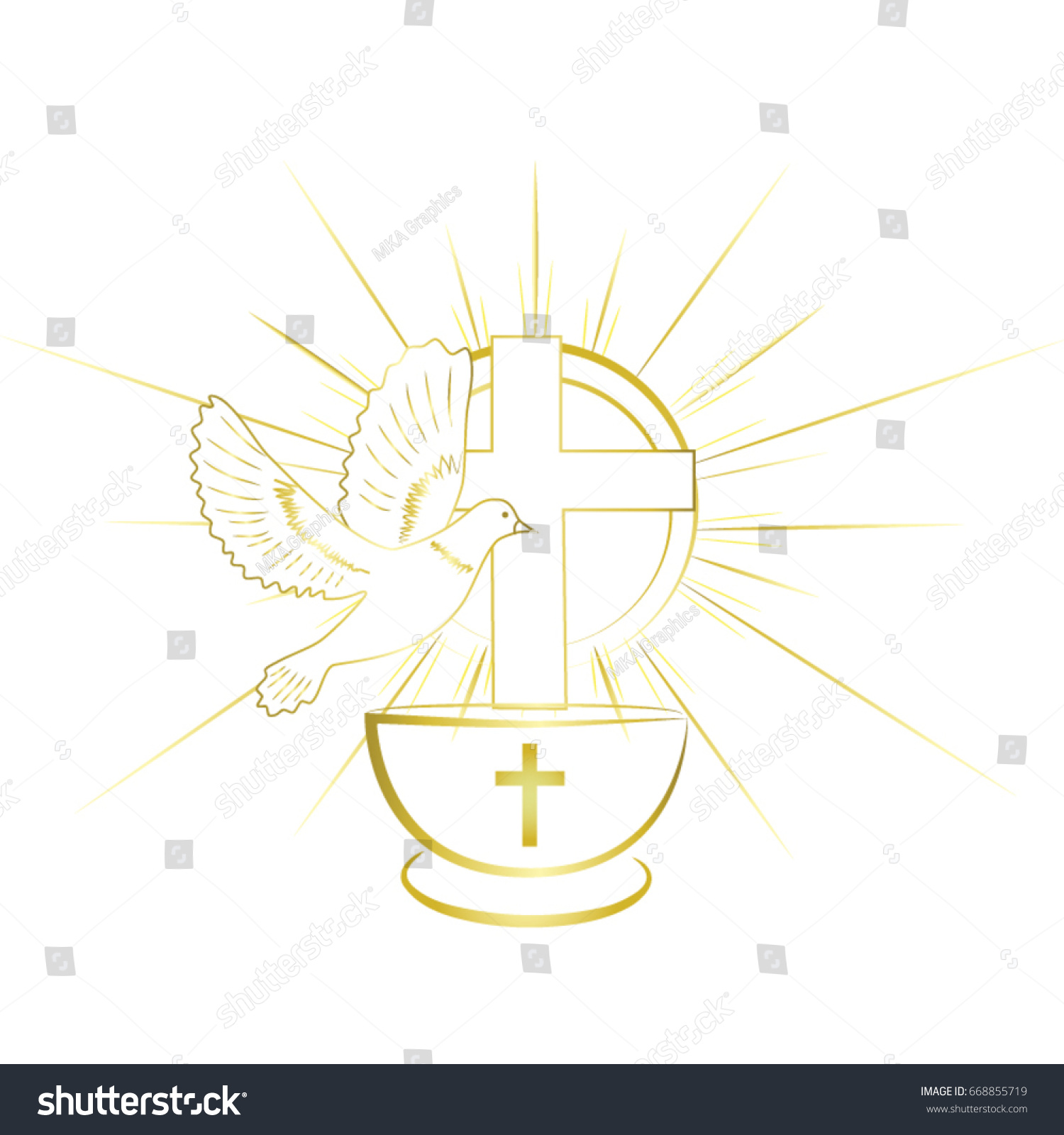 Gold Simple Classy Baptism Symbols Invitation Stock Vector Royalty