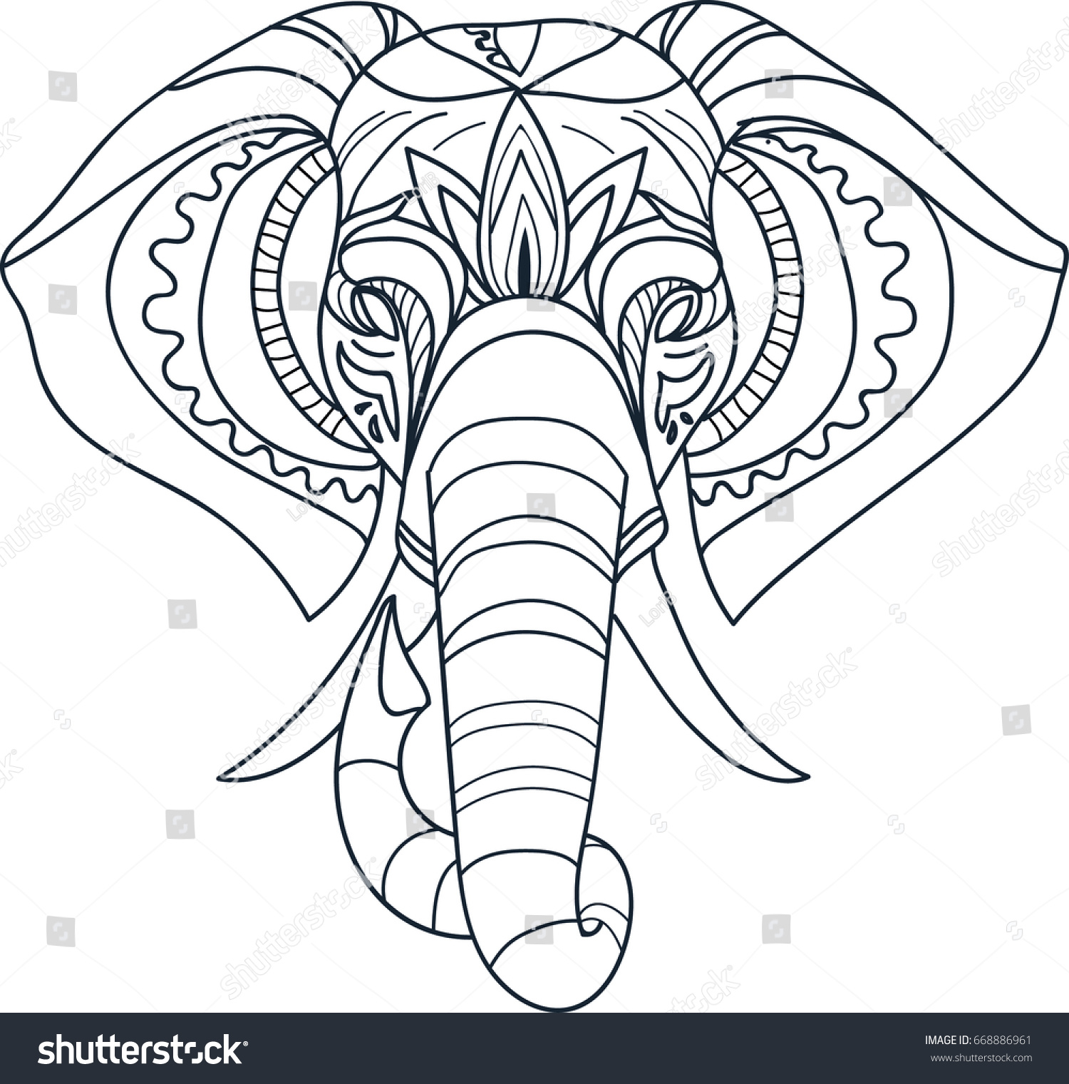 Black White Elephant Face Drawn Stock Vector HD (Royalty Free ...