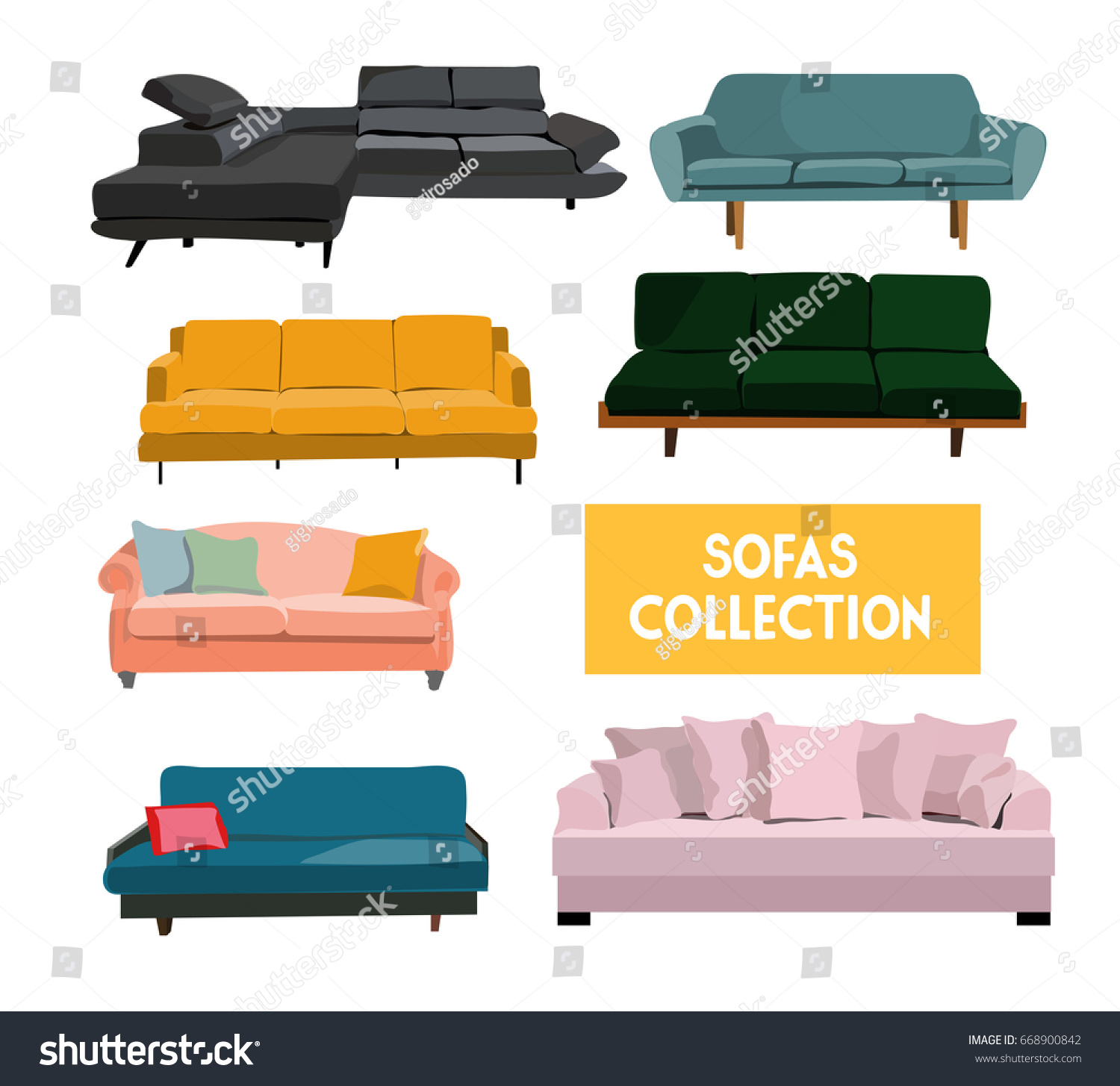 Vector Interior Design Elements Set Sofa Stock Vector