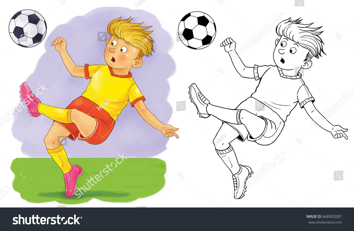 cute footballer football soccer coloring page stock illustration