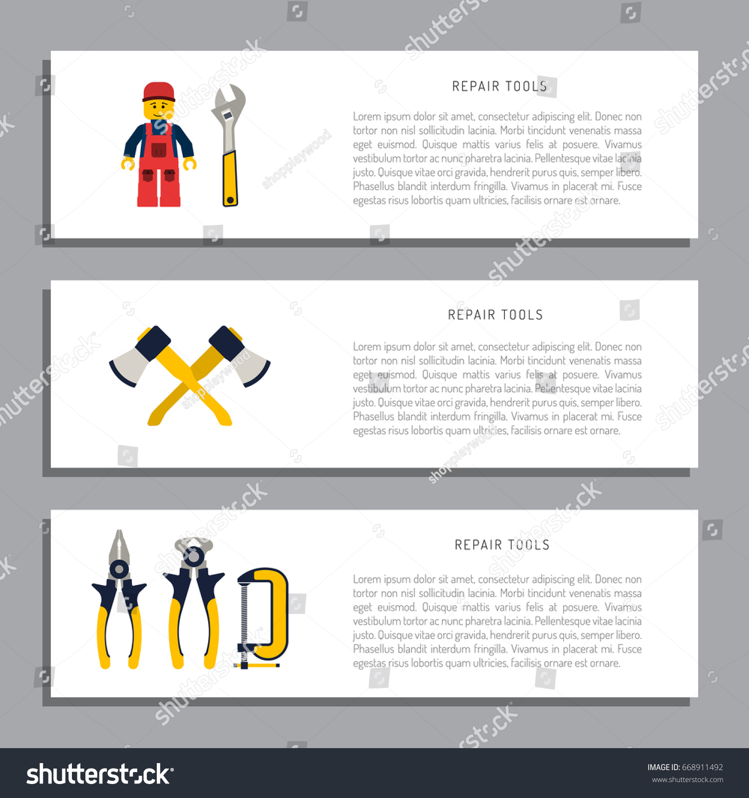 Do it yourself, construction repair tools flat icon set. Tools like hammer,  axe