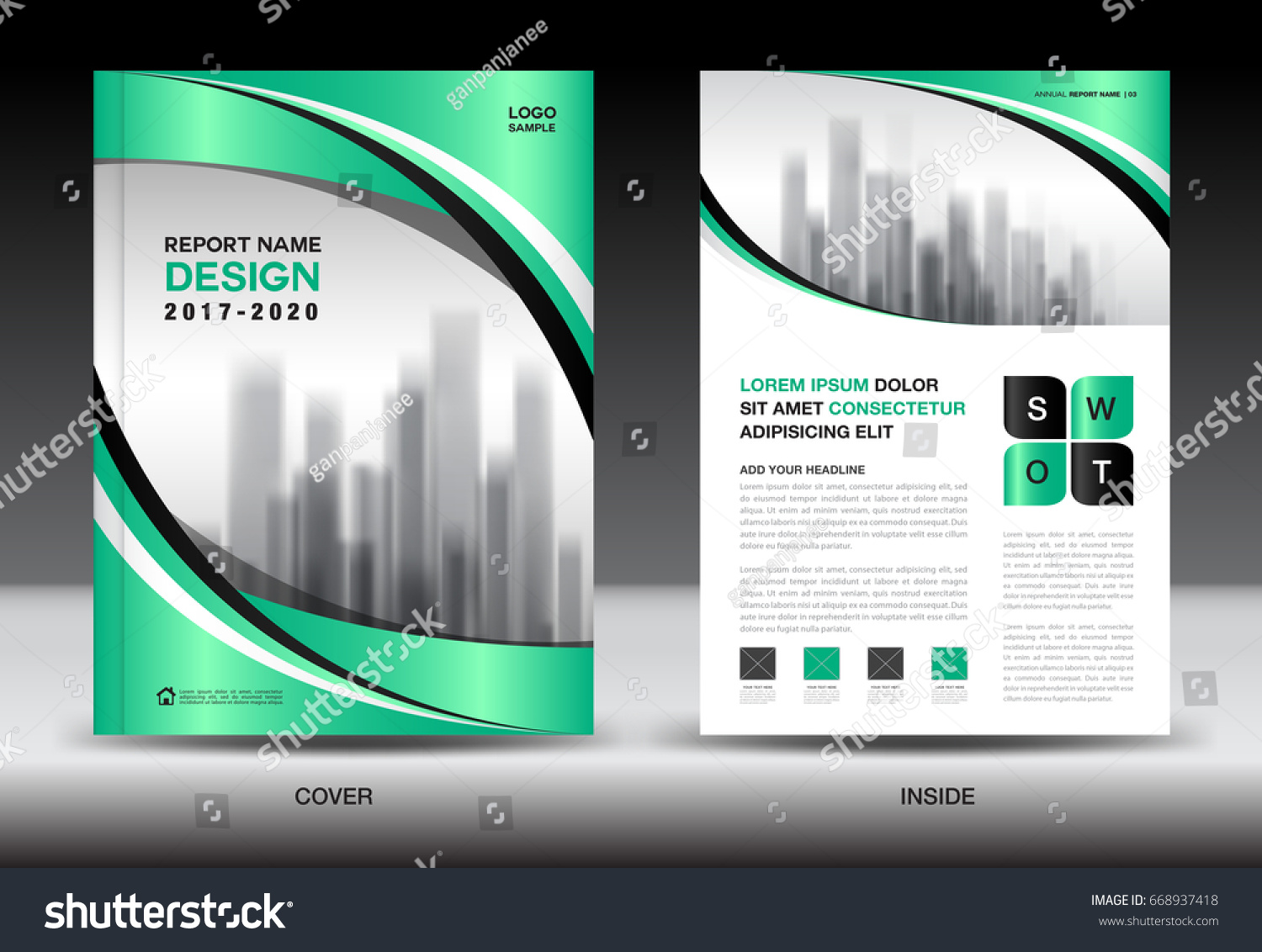 annual report brochure flyer template green stock vector royalty