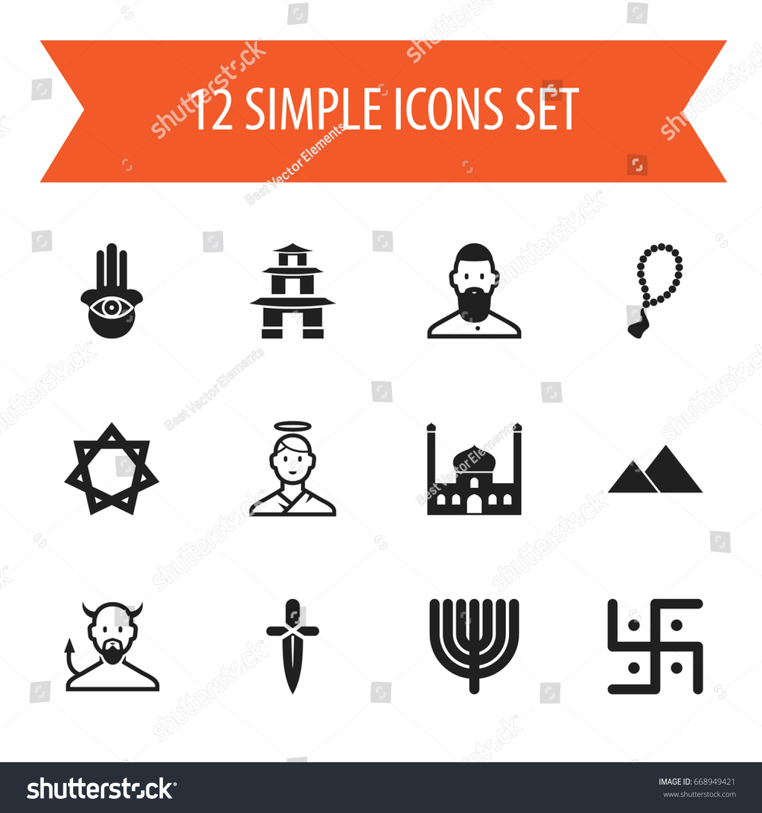 Set 12 editable religion icons includes stock vector 668949421 set of 12 editable religion icons includes symbols such as hexagram pagoda satan biocorpaavc Choice Image