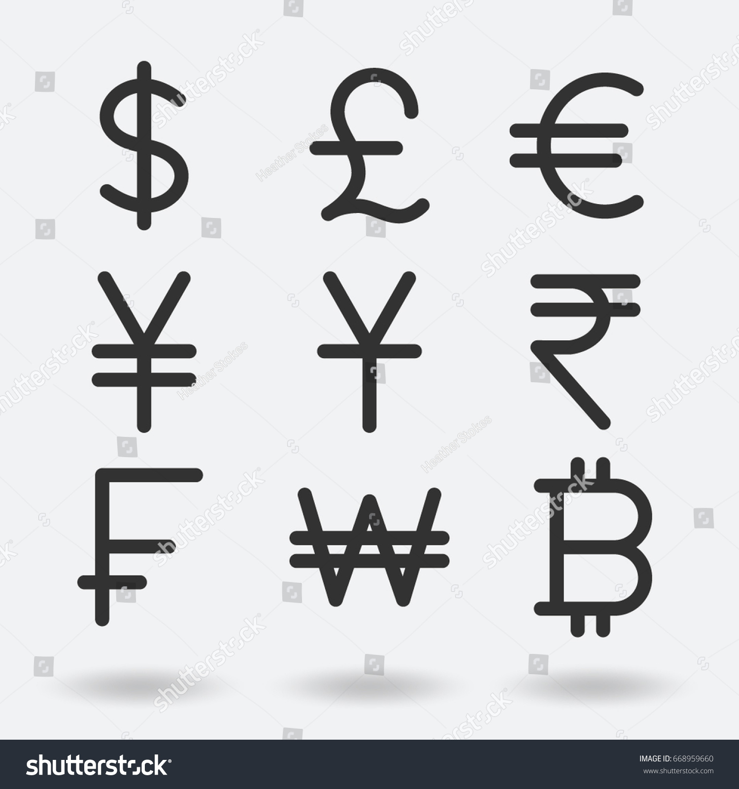 International Currency Symbol Icons Stock Vector Royalty Free