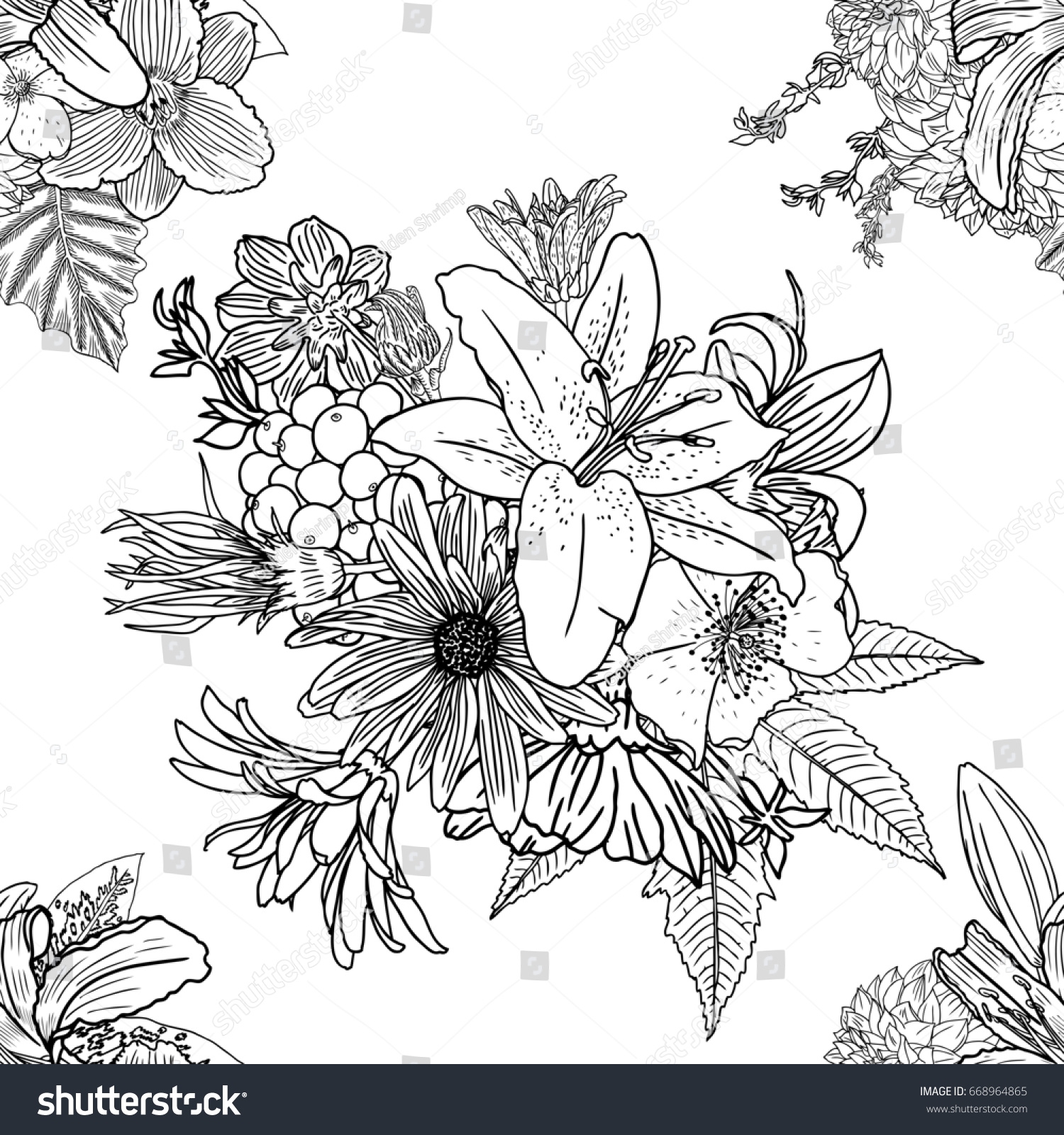 doodle floral drawing seamless pattern wallpaper stock