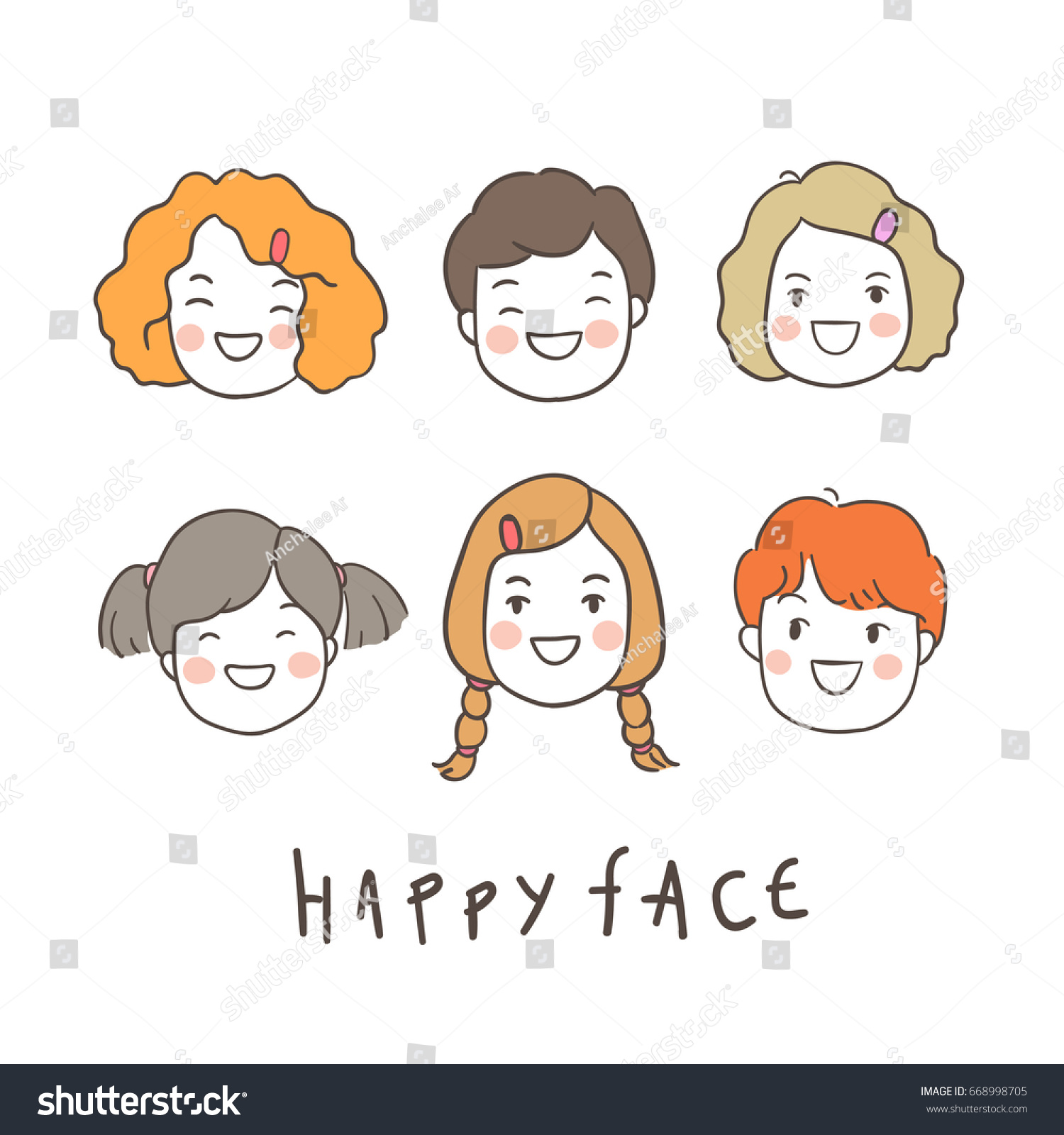 Draw vector illustration happy face kid stock vector hd royalty draw vector illustration happy face of kid for schoolodle style voltagebd Image collections