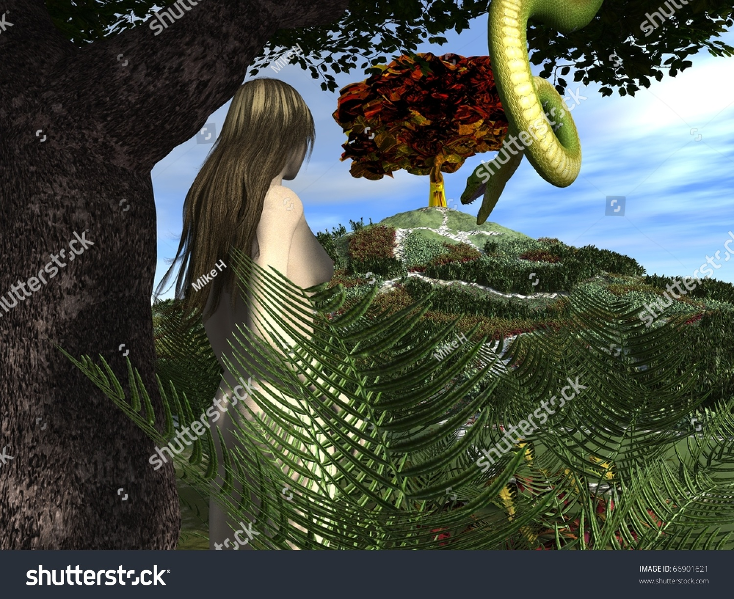 Serpent Tempts Eve In The Garden Of Eden Stock Photo 66901621 Shutterstock