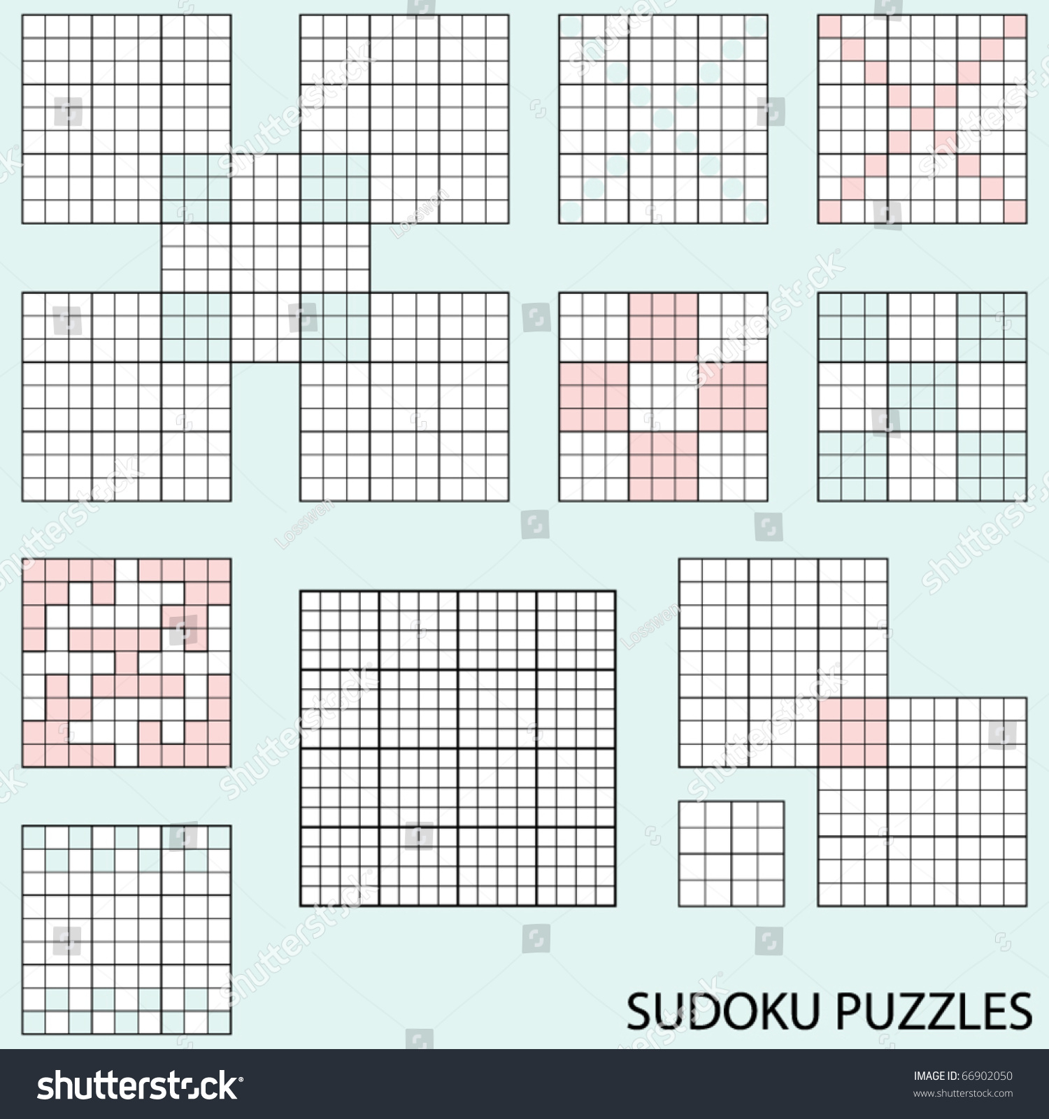 Collection Various Blank Sudoku Puzzle Templates Stock Vector
