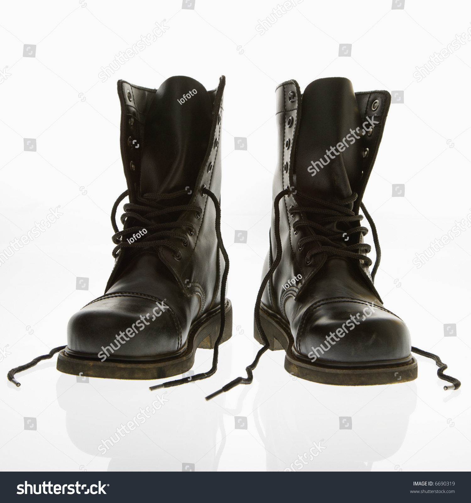 Black Leather High Top Boots Untied Stock Photo 6690319 - Shutterstock