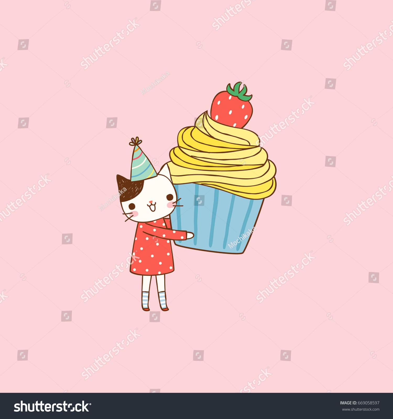 Happy Birthday Card Cute Cartoon Cat Stock Vector
